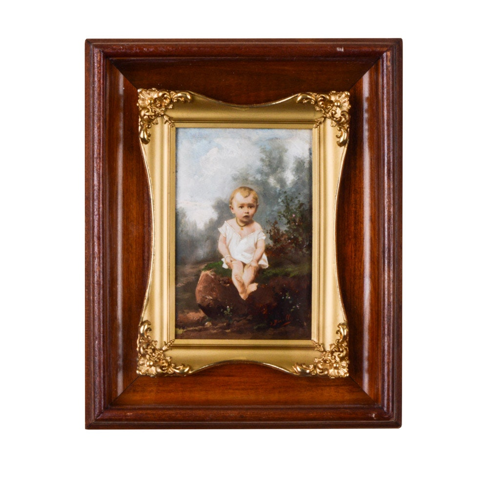 """Antique Signed Hand-Colored Photo of """"Henrietta"""""""