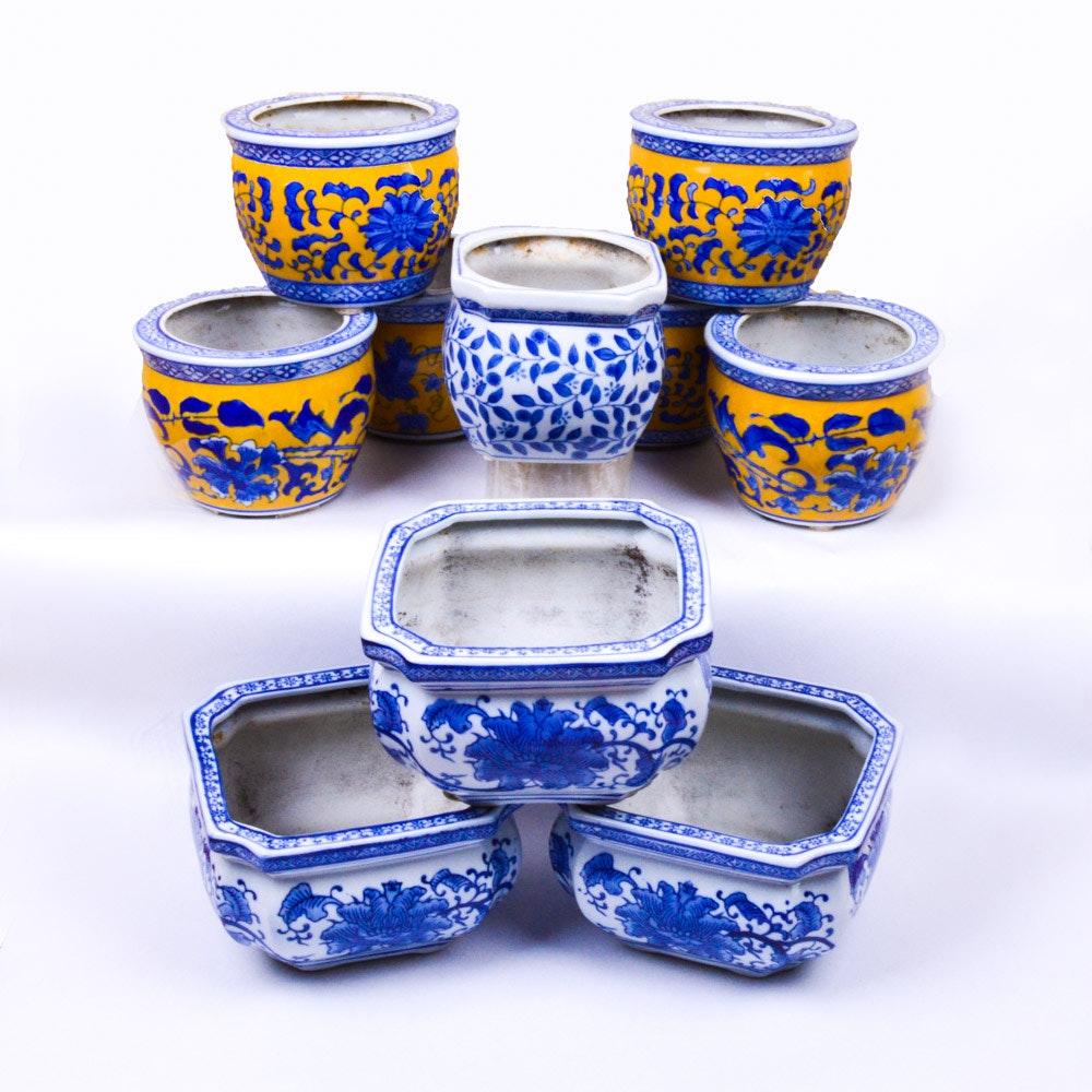 Ceramic Asian Inspired Jardiniere Planters
