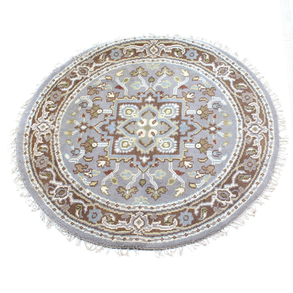 "Hand-Knotted Indo-Persian ""Heriz"" Round Wool Area Rug"