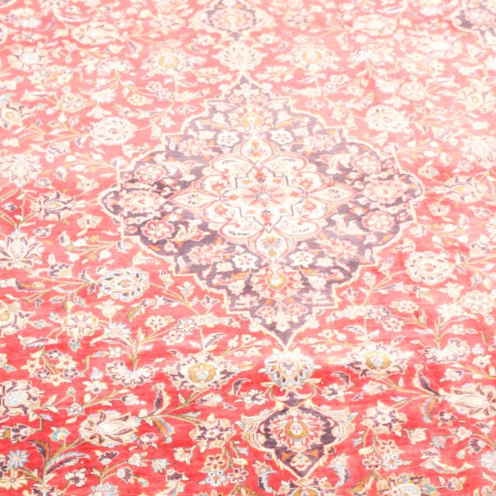 Hand-Knotted Vintage Persian Kashan Rug