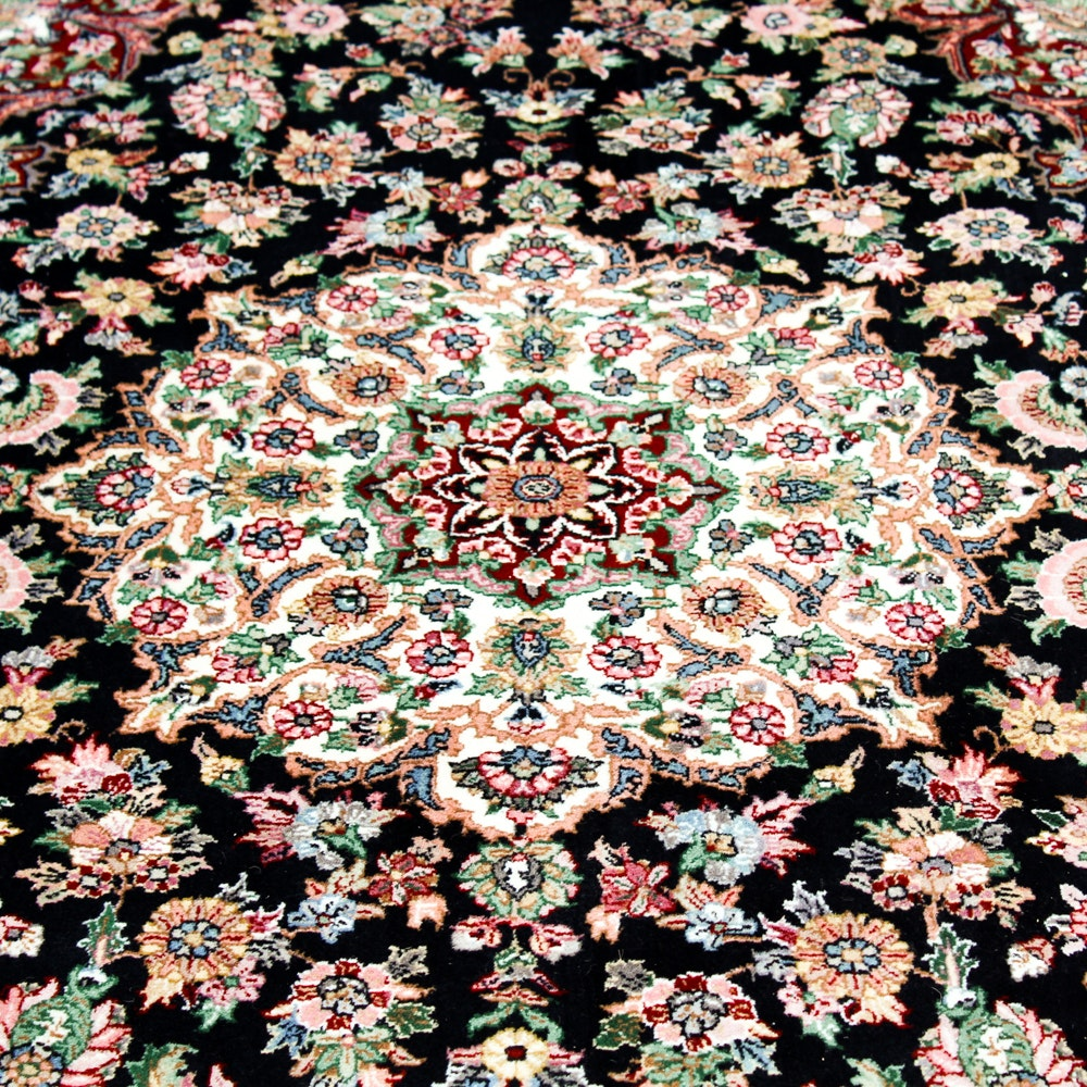 Hand-Knotted Persian Inspired Circular Rug