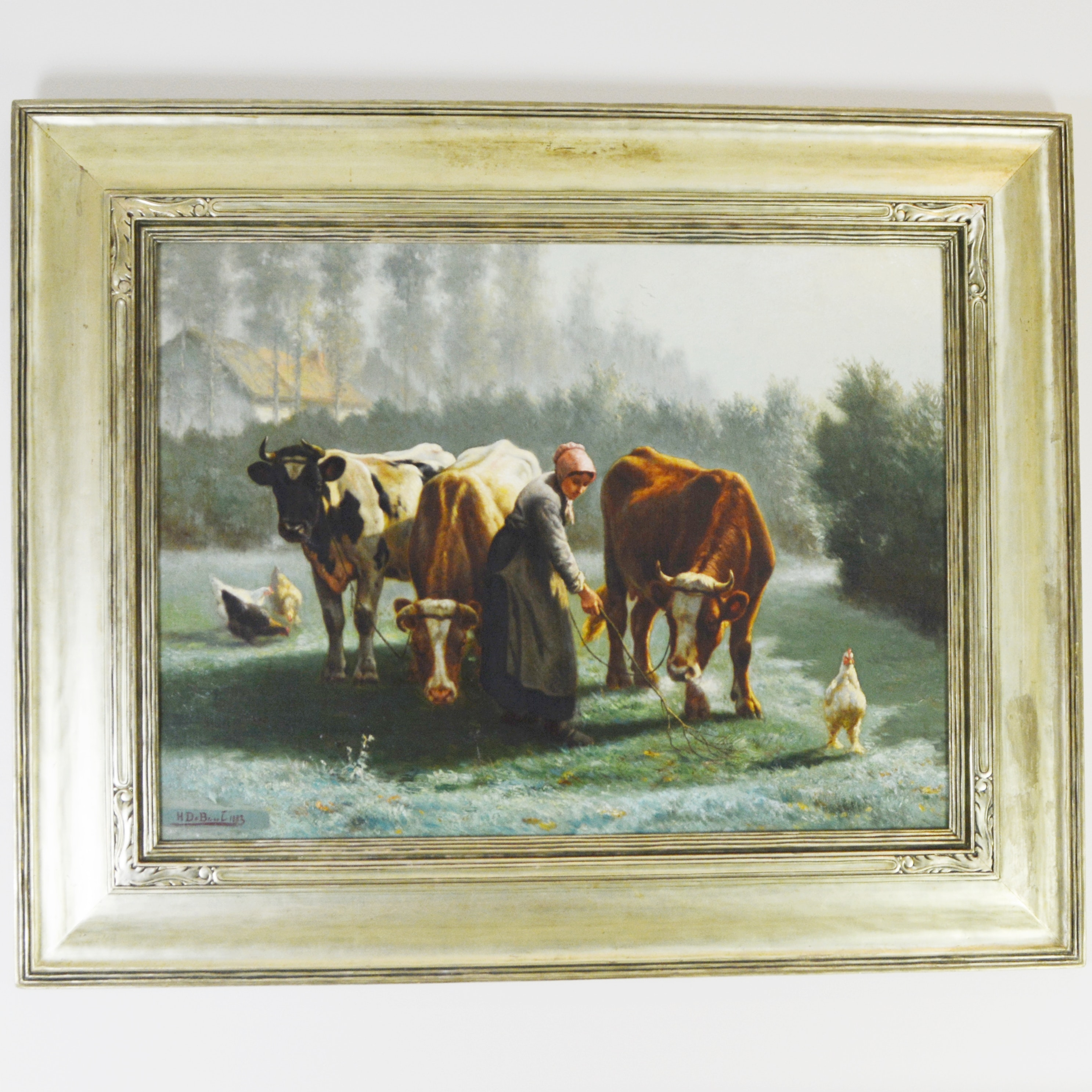 Henri De Beul Original Oil Painting of Pastoral Cow Scene