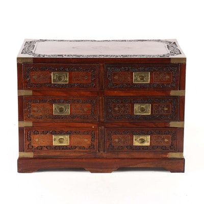 Vintage Carved Wood and Brass Indian Jewelry Box - Furniture Auctions Online Antique Furniture Auctions In Charlotte