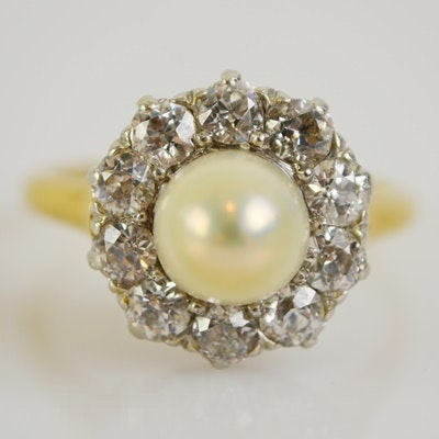 14K Yellow Gold and Platinum Cultured Pearl and Diamond Ring