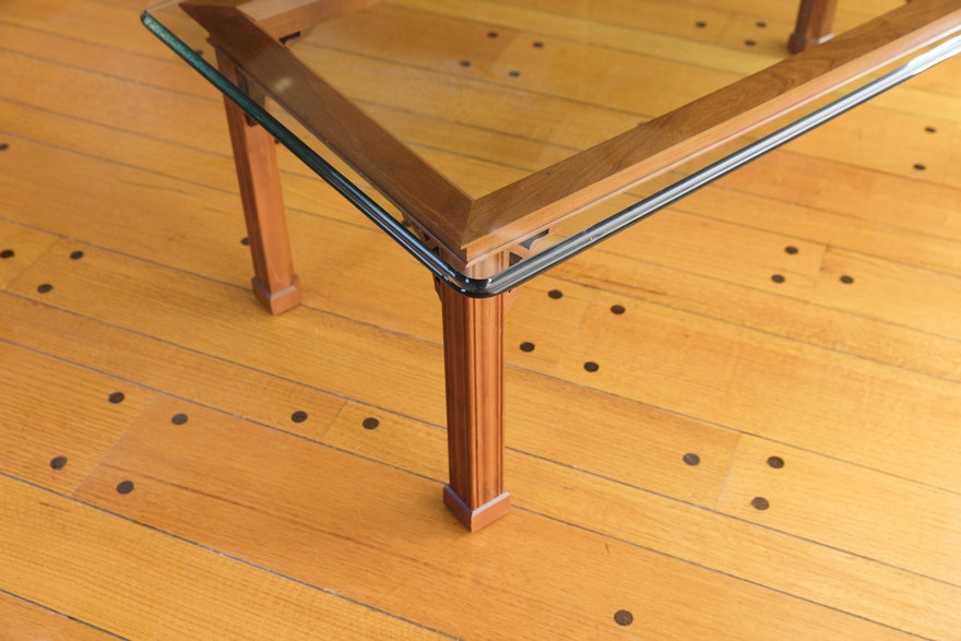Contemporary Glass Top Coffee Table Ebth