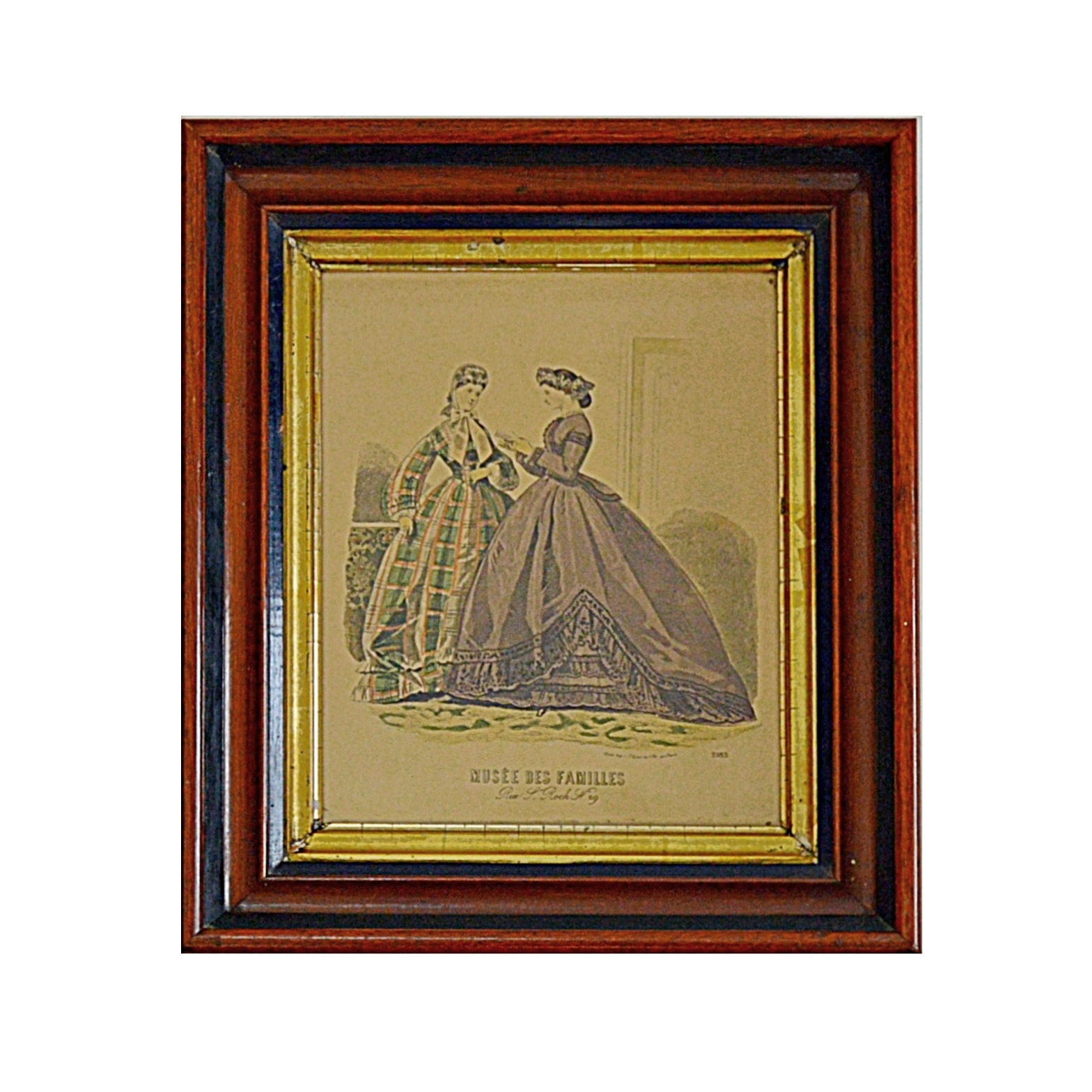 """19th Century Hand Tinted Fashion Engraving Titled """"Musee Des Familles"""""""