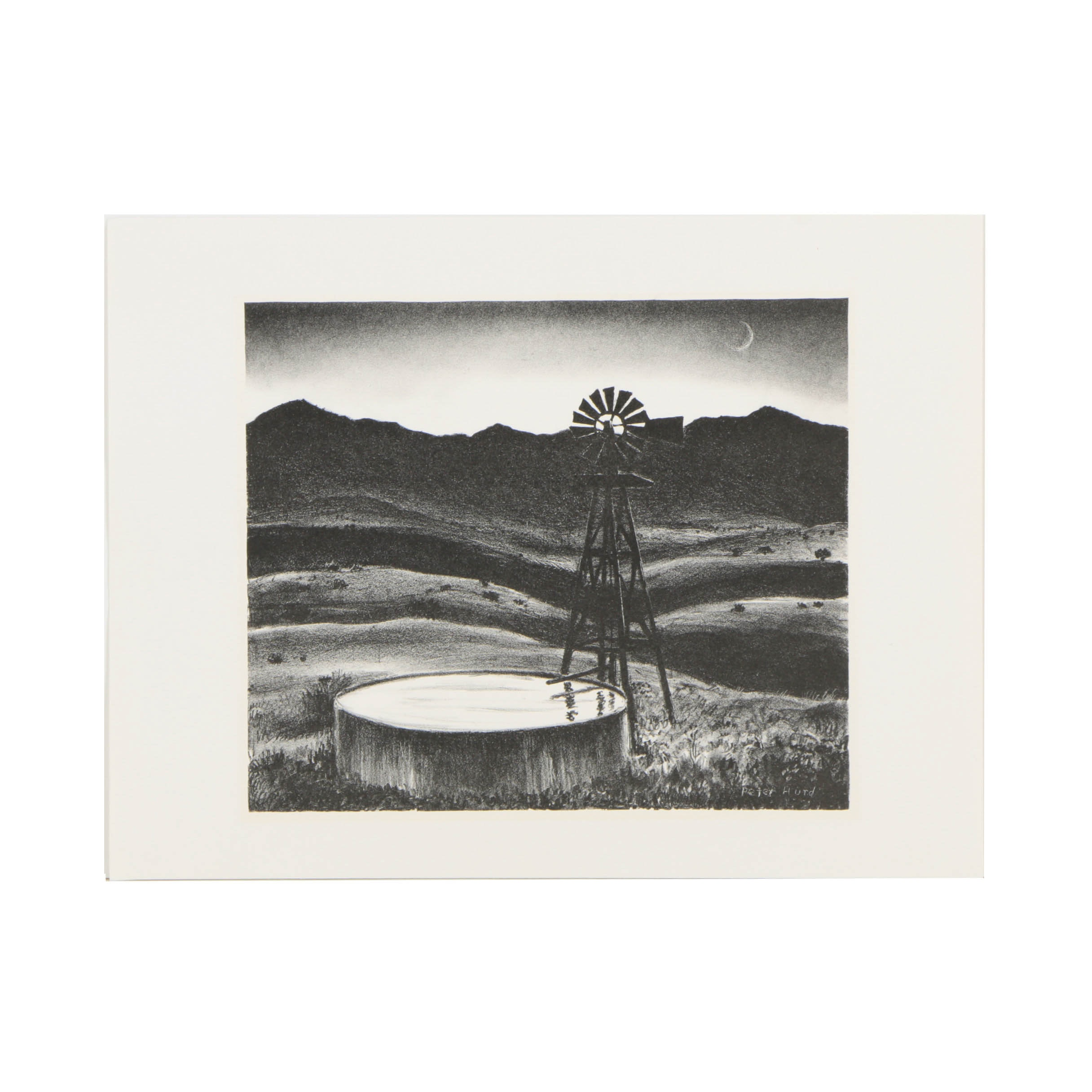 "Peter Hurd Lithograph on Paper ""The Water Tank"""