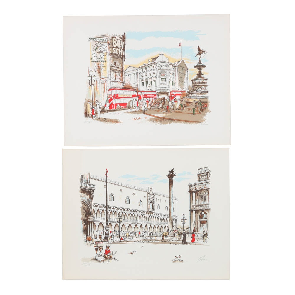Pair of Signed Limited Edition Serigraphs on Paper of Street Scenes