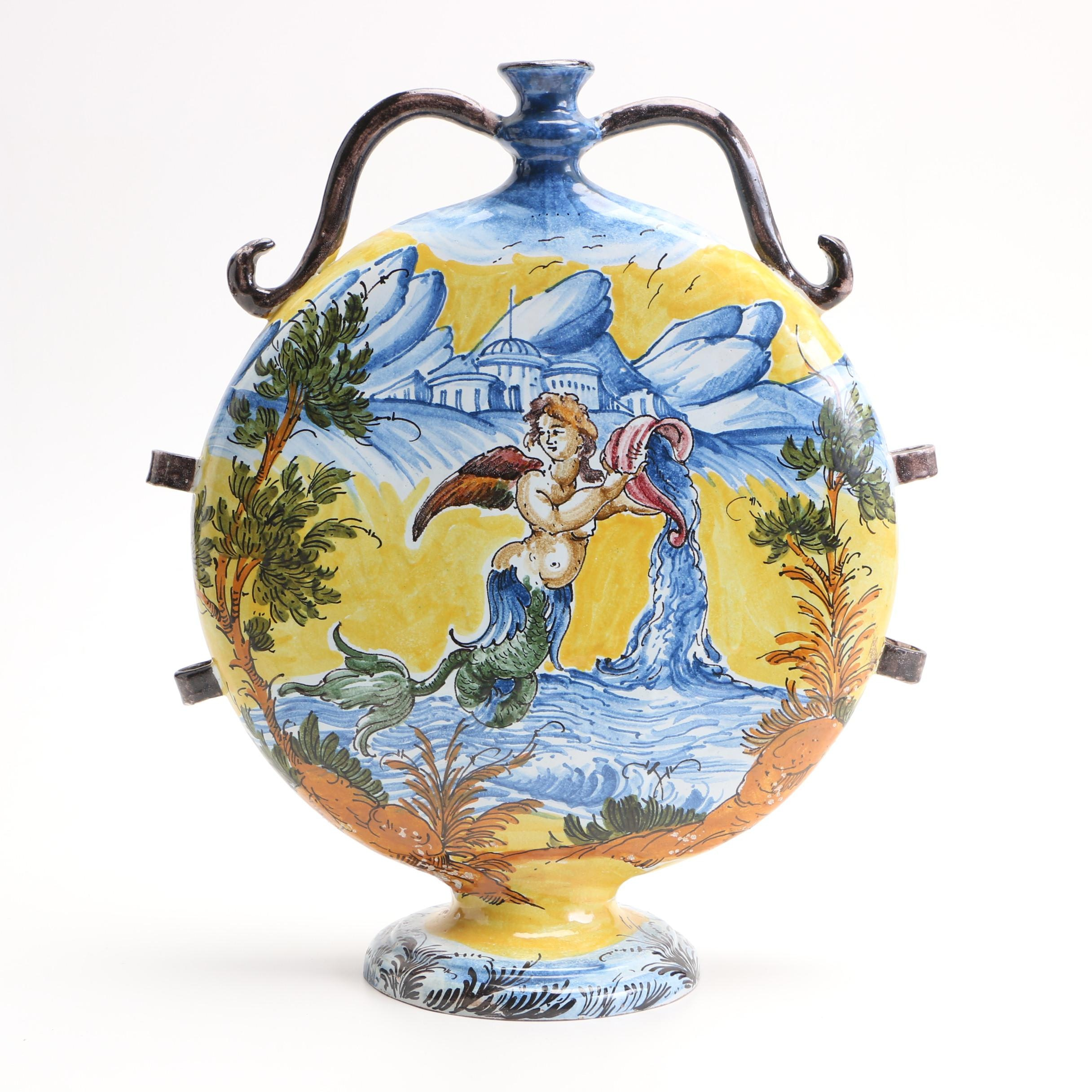 Large Earthenware Painted Bottle of a Greco Roman Style Scene