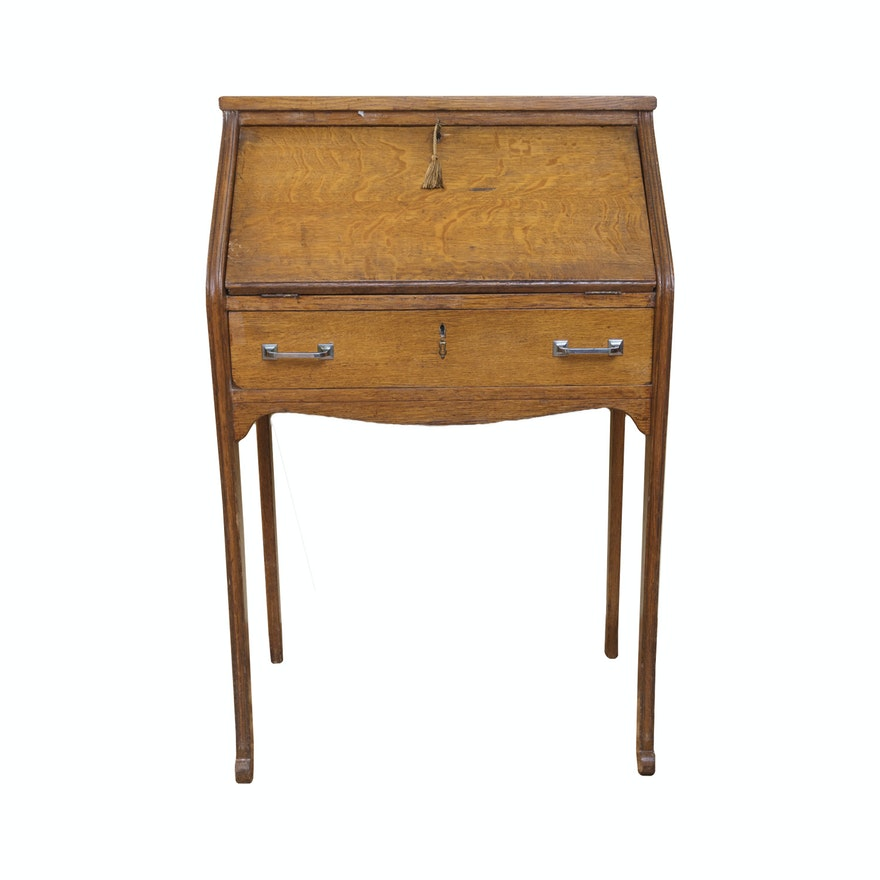 Vintage to Antique Oak Ladies Writing Desk ... - Vintage To Antique Oak Ladies Writing Desk : EBTH