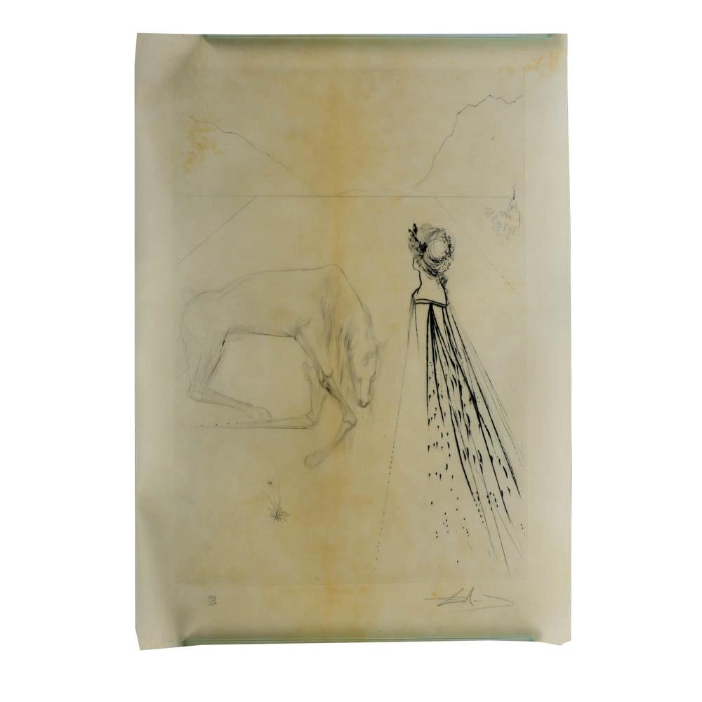 "Salvador Dalí Original Drypoint on Parchment ""La Ville Odorante..."""