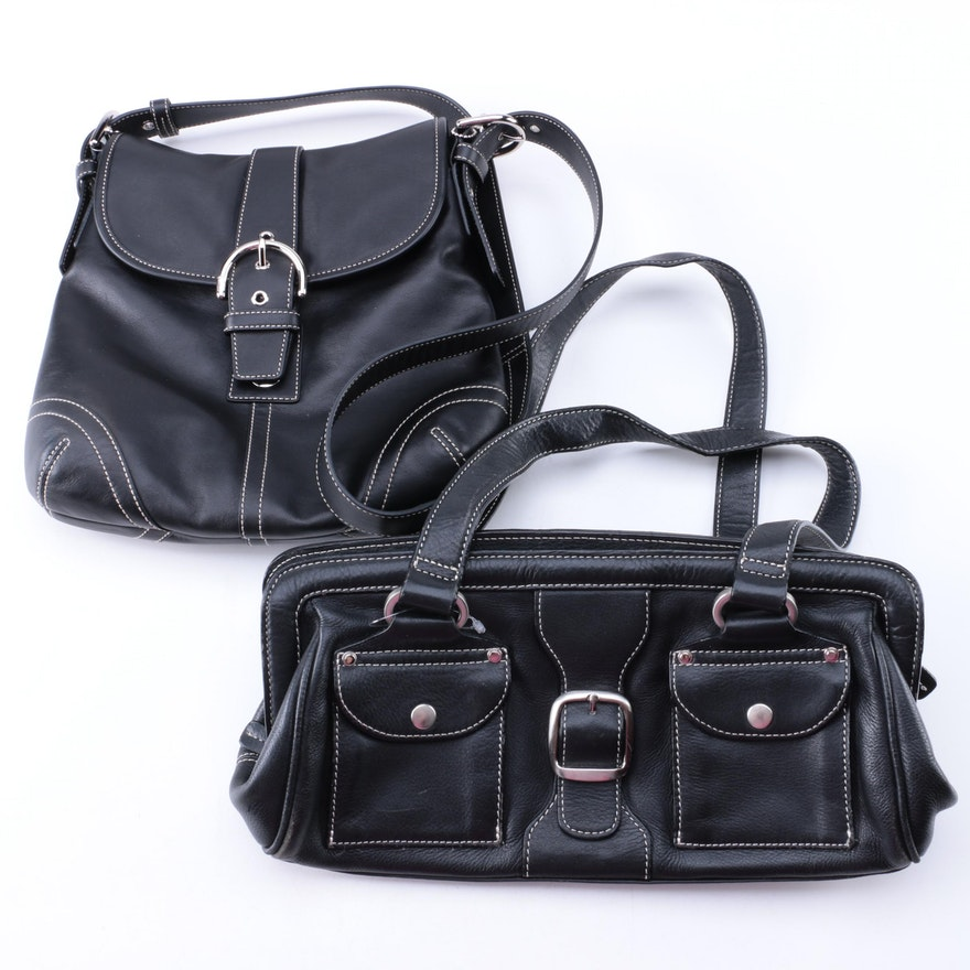 Leather Handbags Including Coach And Clarks
