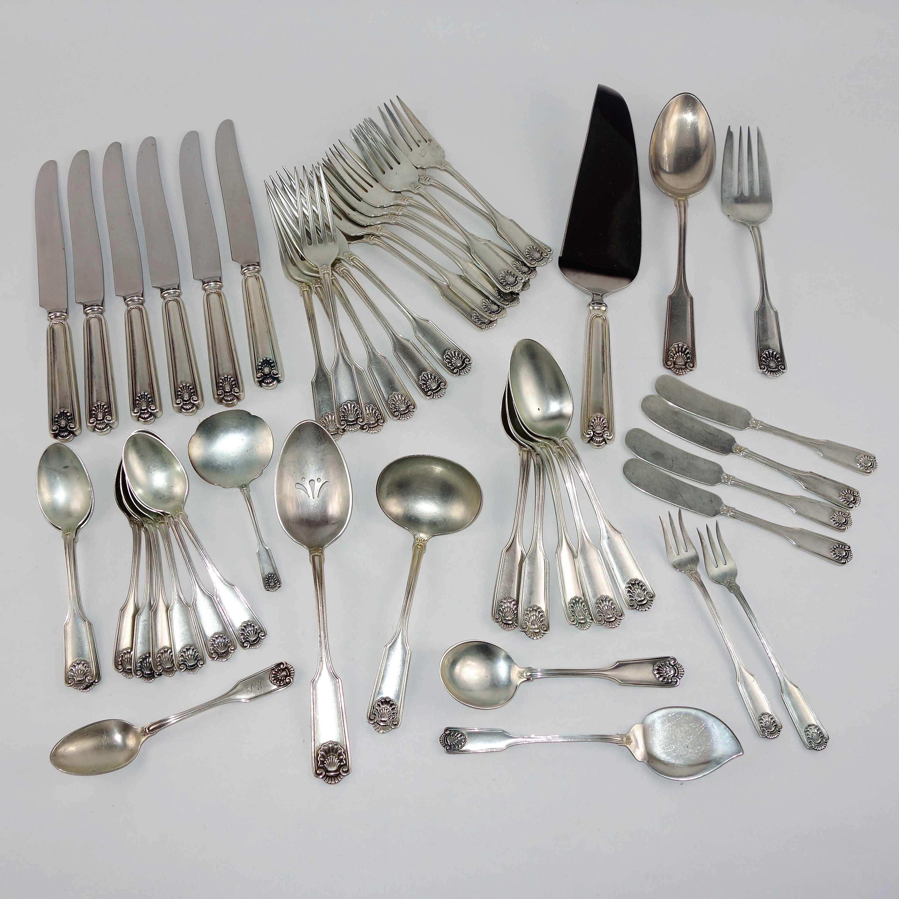 "Frank Smith Sterling Silver Flatware in the ""Fiddle Shell - Alden"""