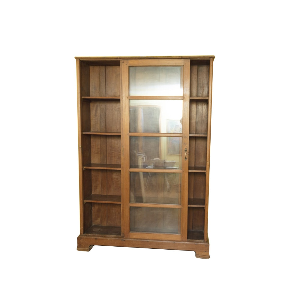 Antique Sliding Glass Door Bookcase In Birch ...