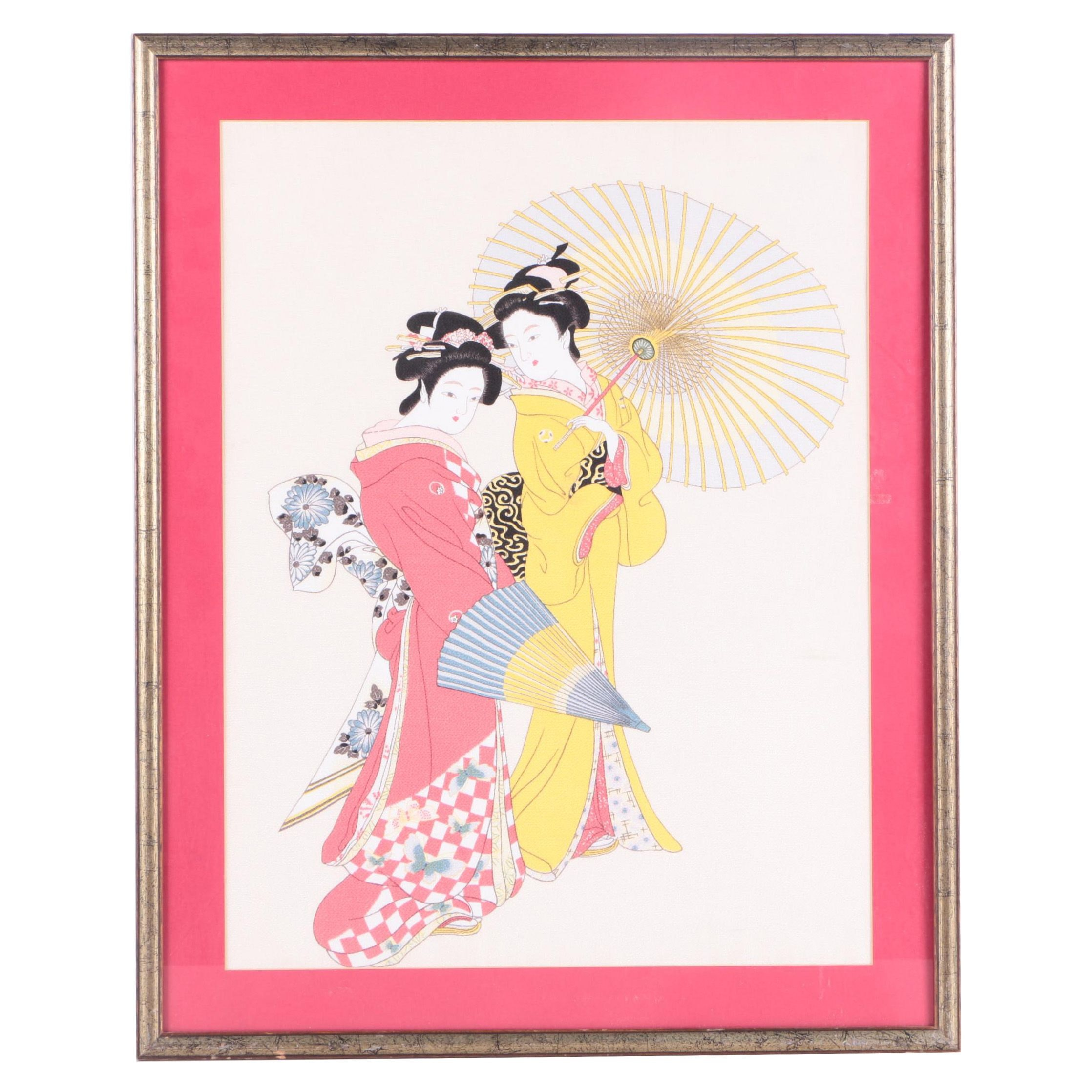 Asian Watercolor Painting on Silk of Geishas