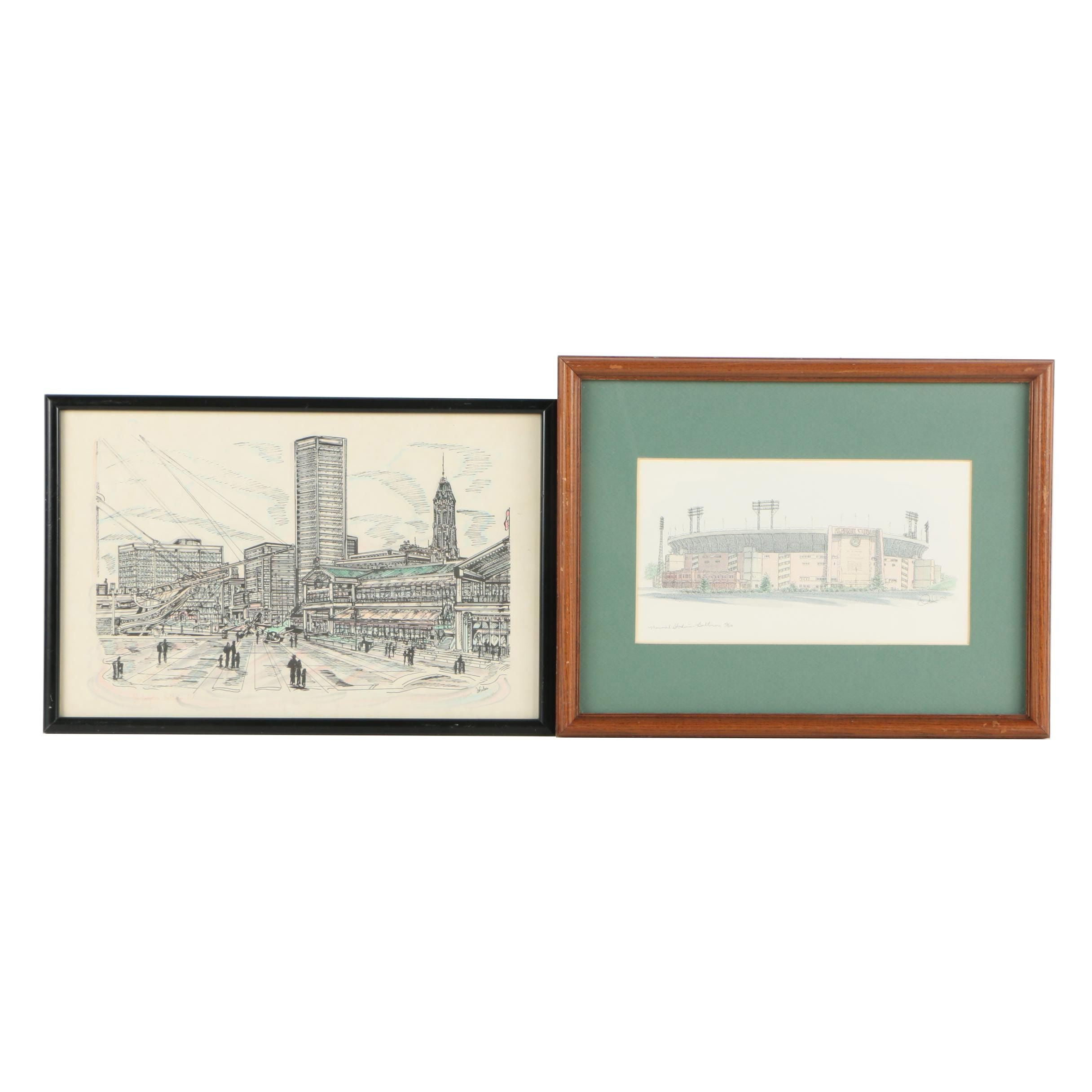 Pair of Hand-Colored Prints on Paper of Landmarks