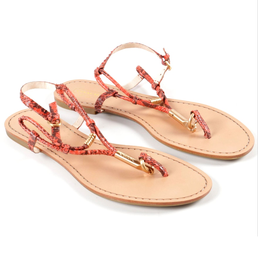 4fde73302 Coach Opal Snakeskin-Style Leather Thong Sandals A8070   EBTH
