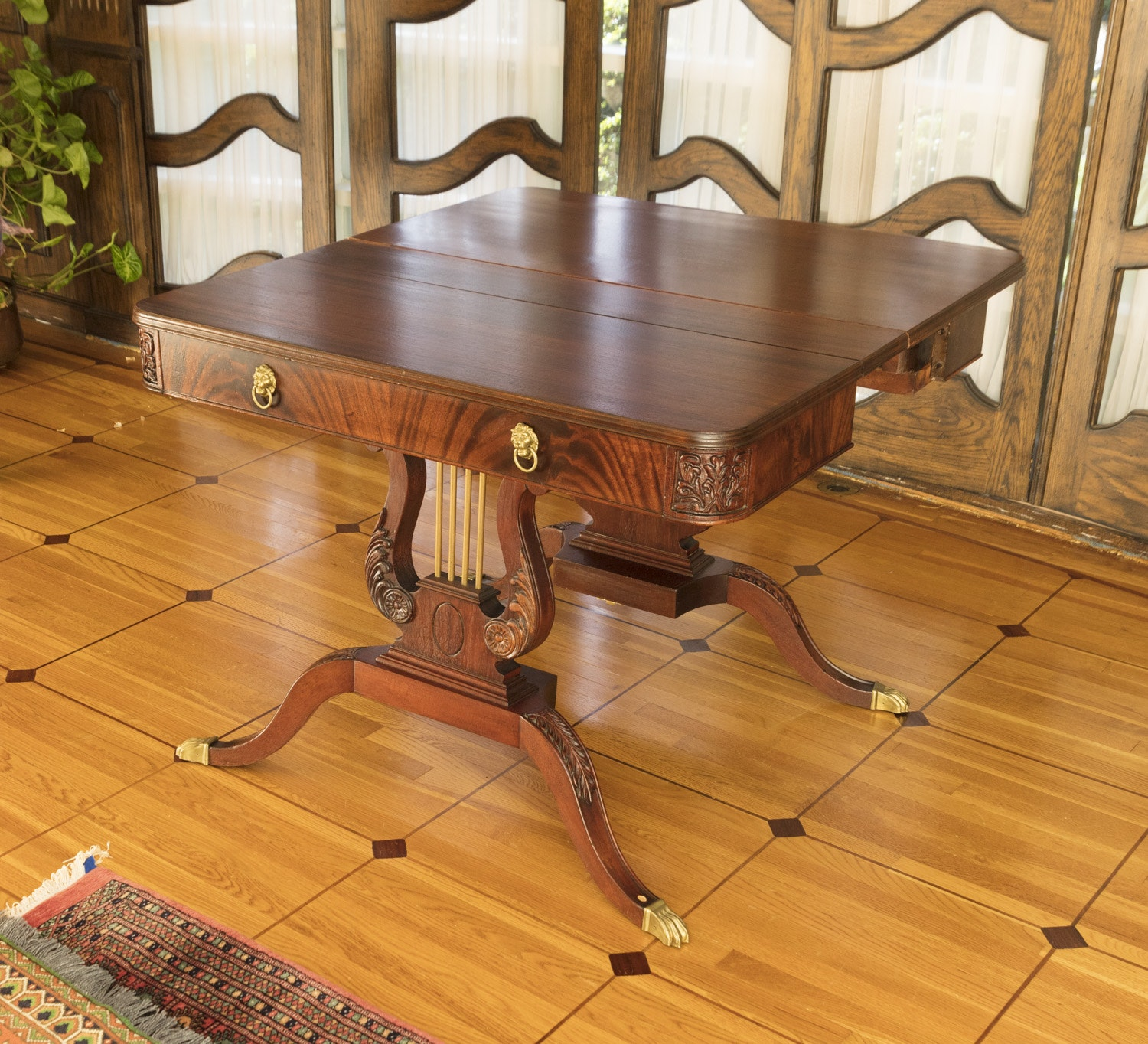 Vintage Duncan Phyfe Style Mahogany Lyre Table
