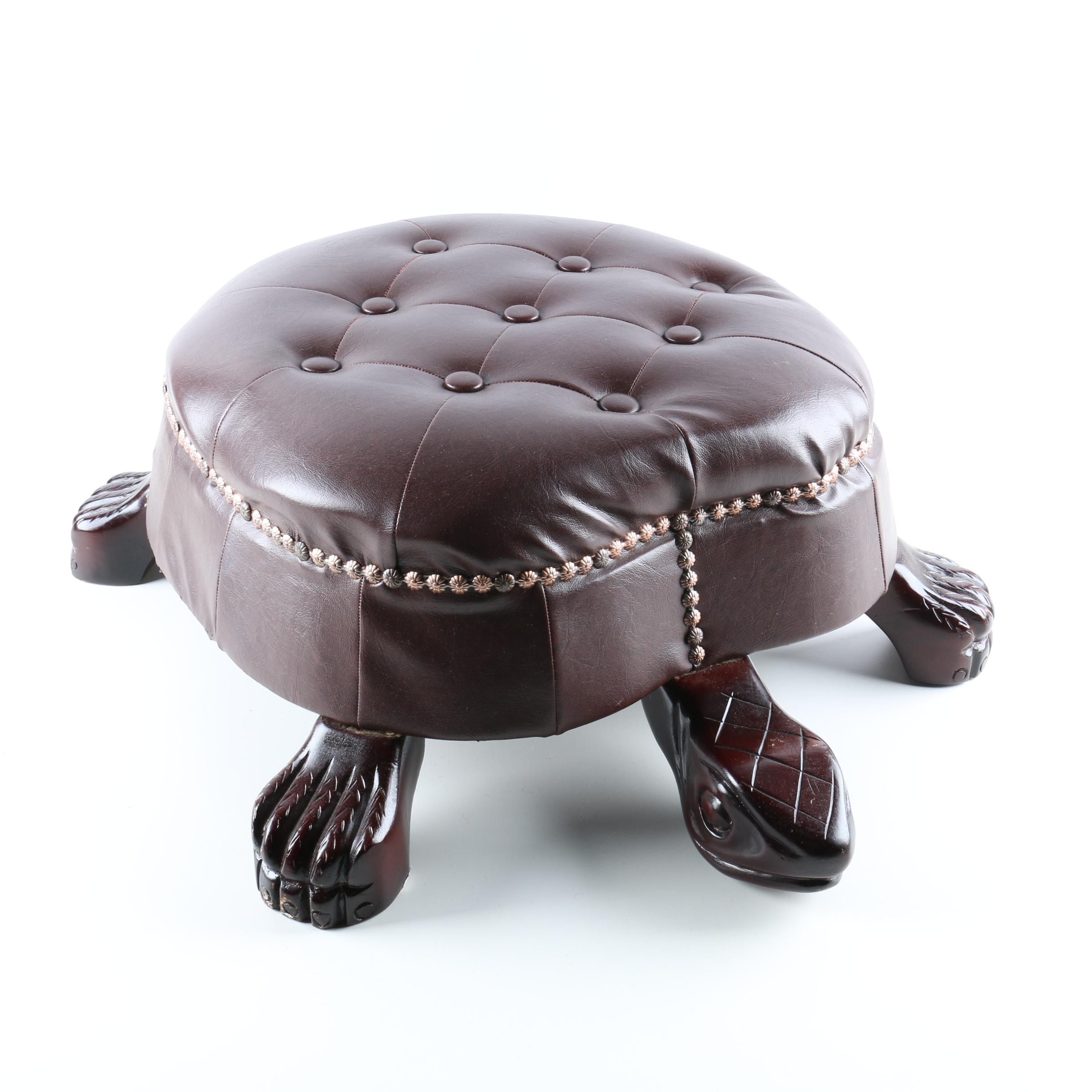 Carved Wood and Faux Leather Tortoise Ottoman