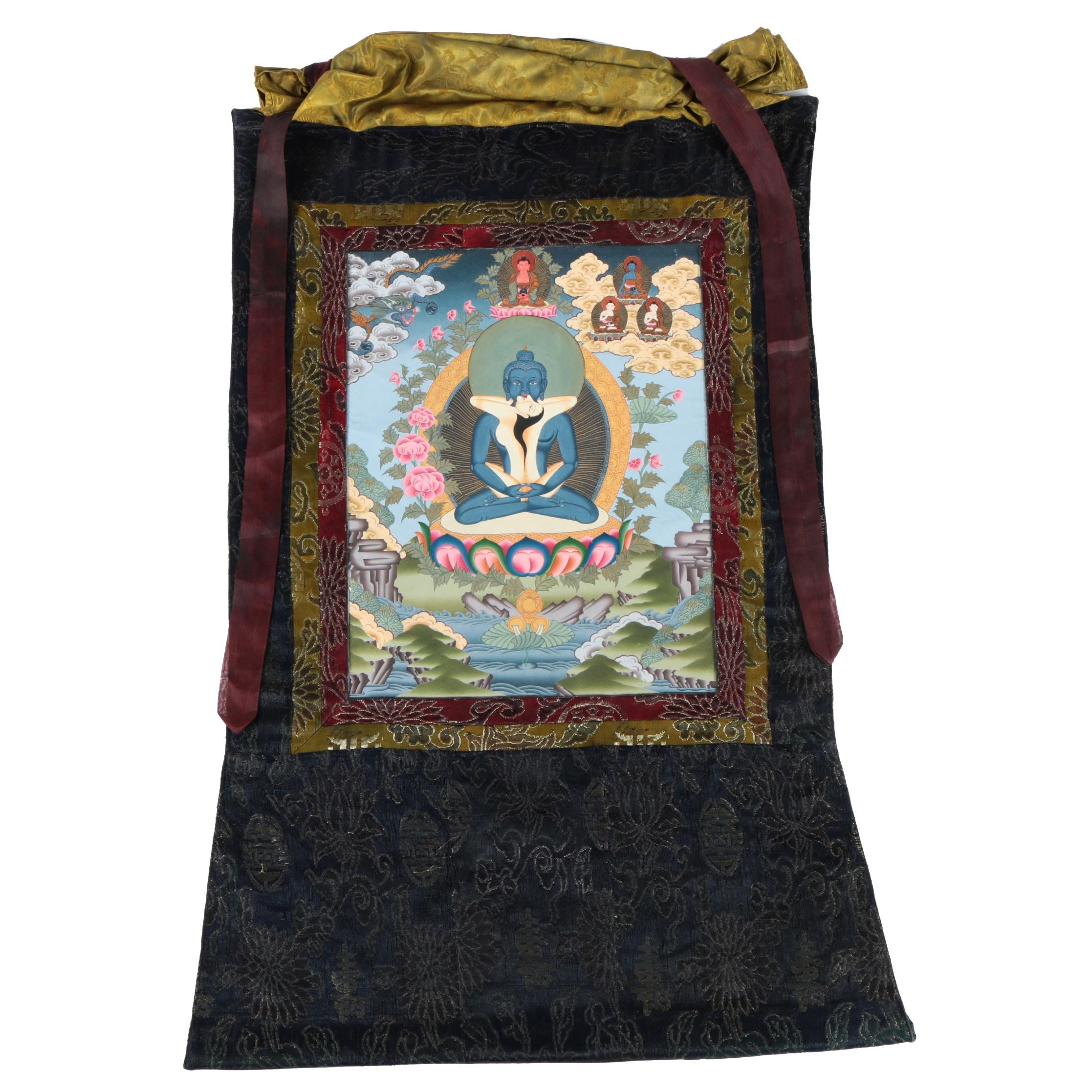 20th-Century Nepali Thangka Gouache Painting on Paper of Yab-Yum Scene