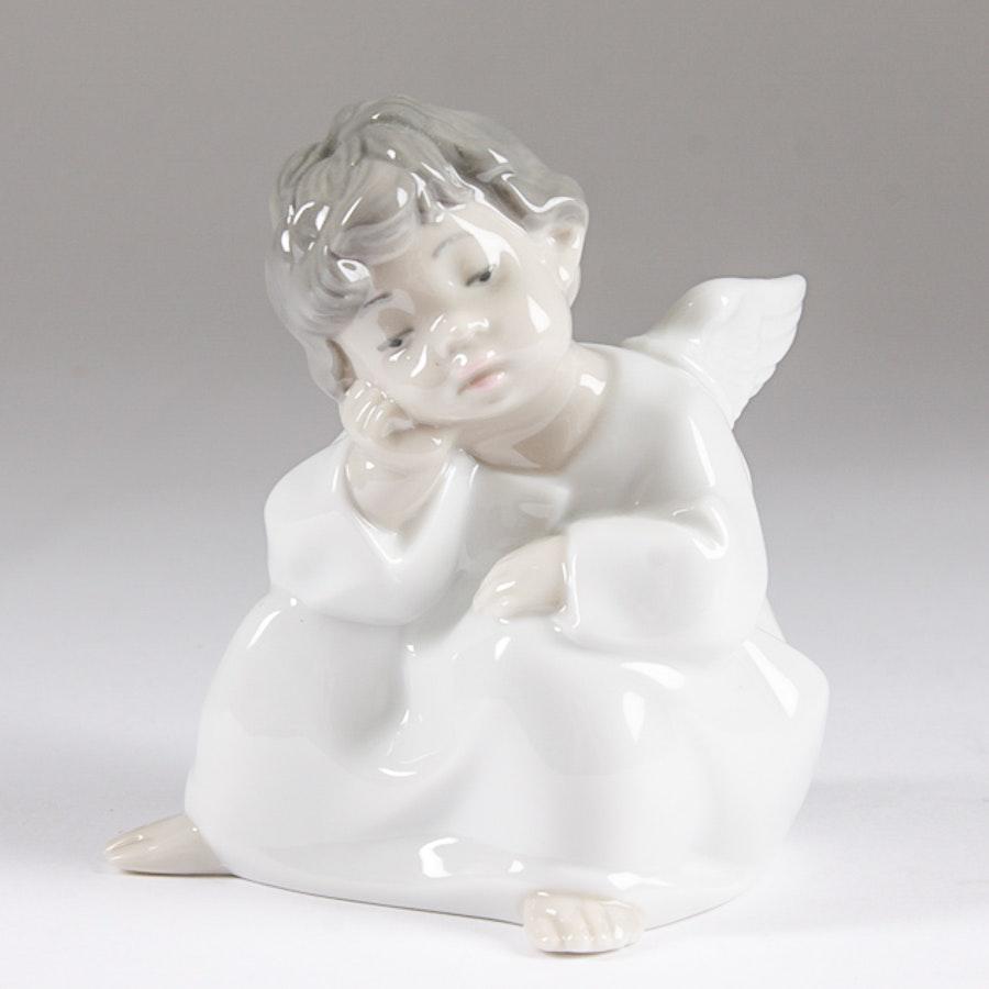"Lladró ""Angel Thinking"" Figurine"