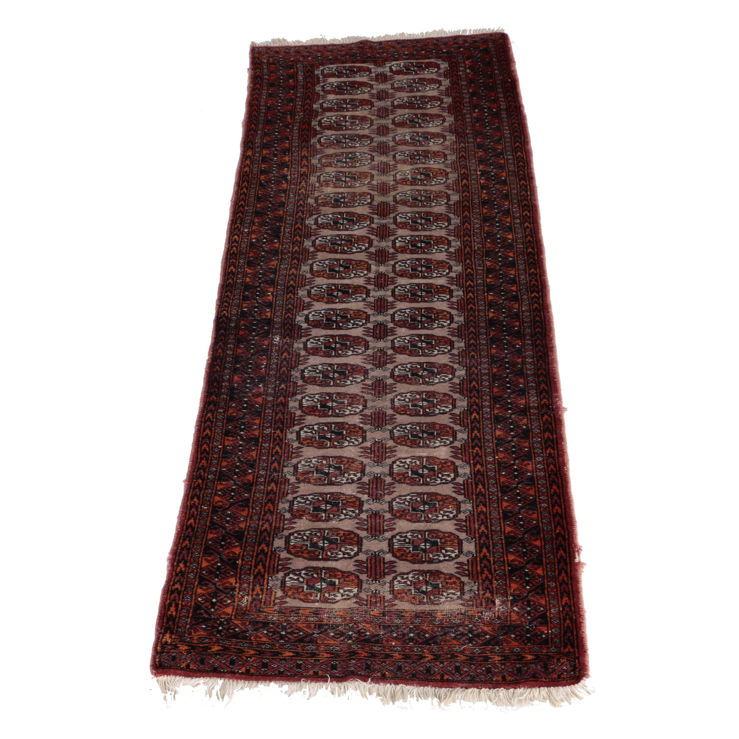 Semi-Antique Hand-Knotted Tekke Bokhara Carpet Runner