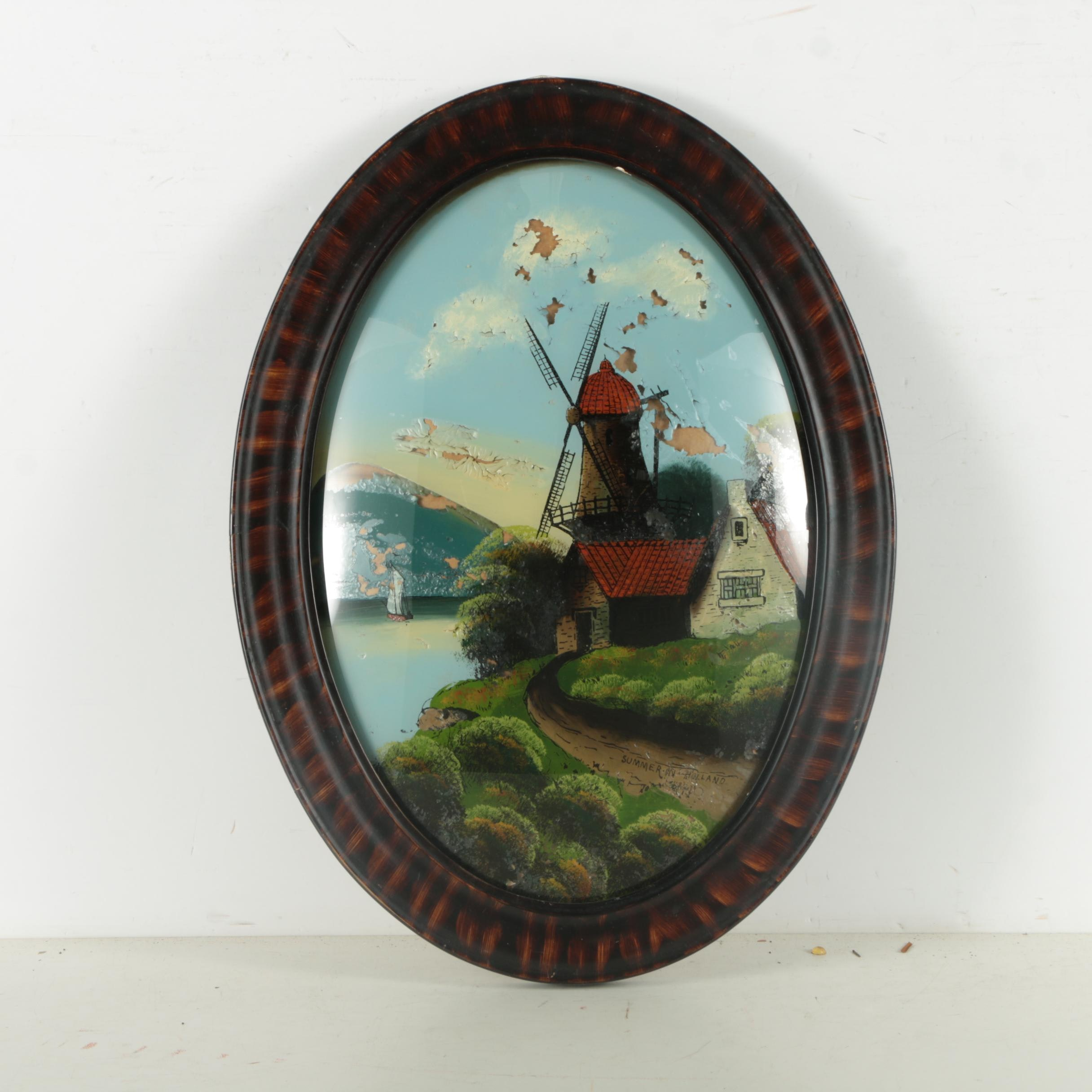 """Reverse-Glass Image Transfer with Hand-Painted Oil Coloring """"Summer in Holland"""""""