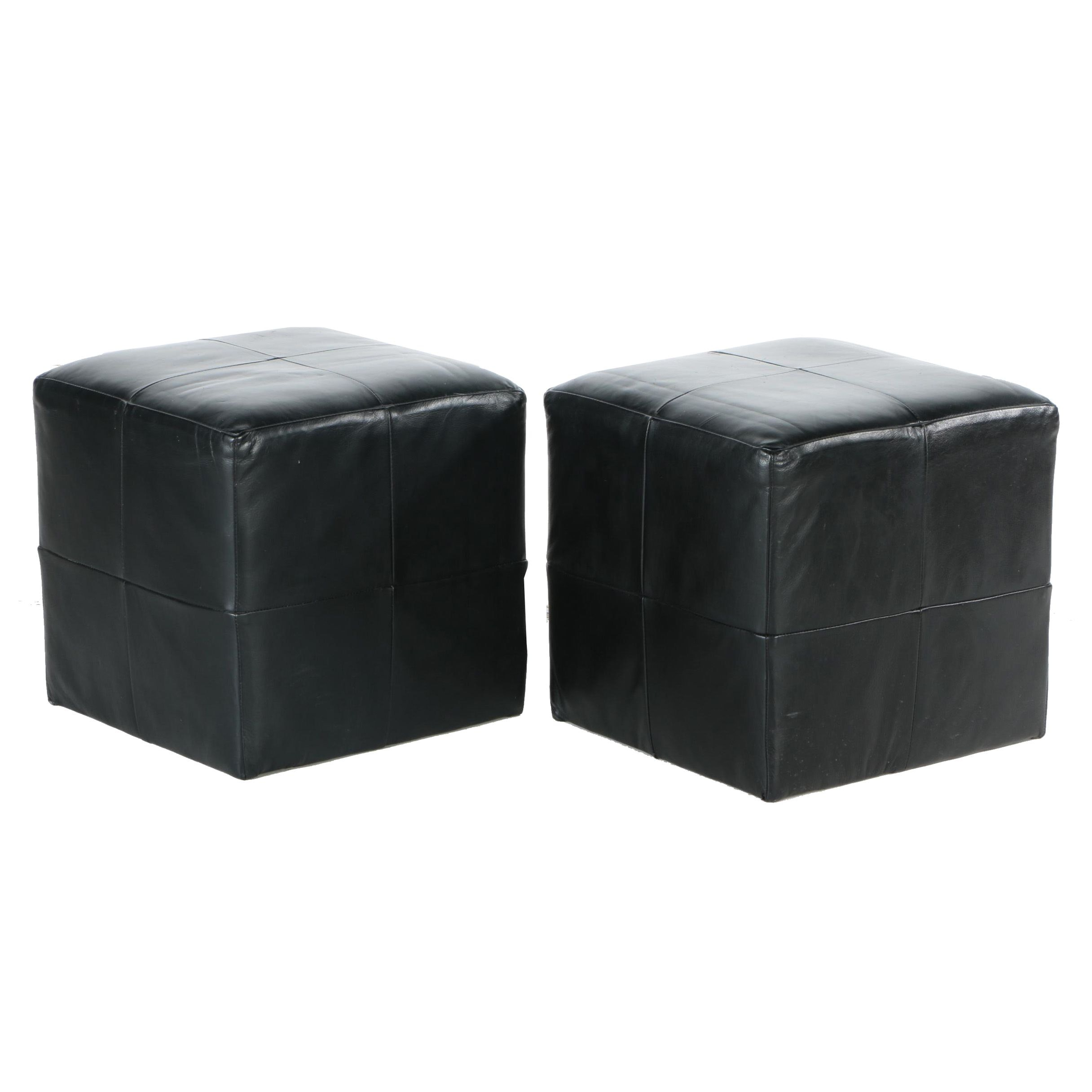 Pair of Cube Ottomans by Restoration Hardware