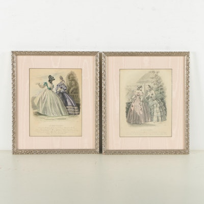 Hand-Colored Engravings of 19th Century Fashion Plates