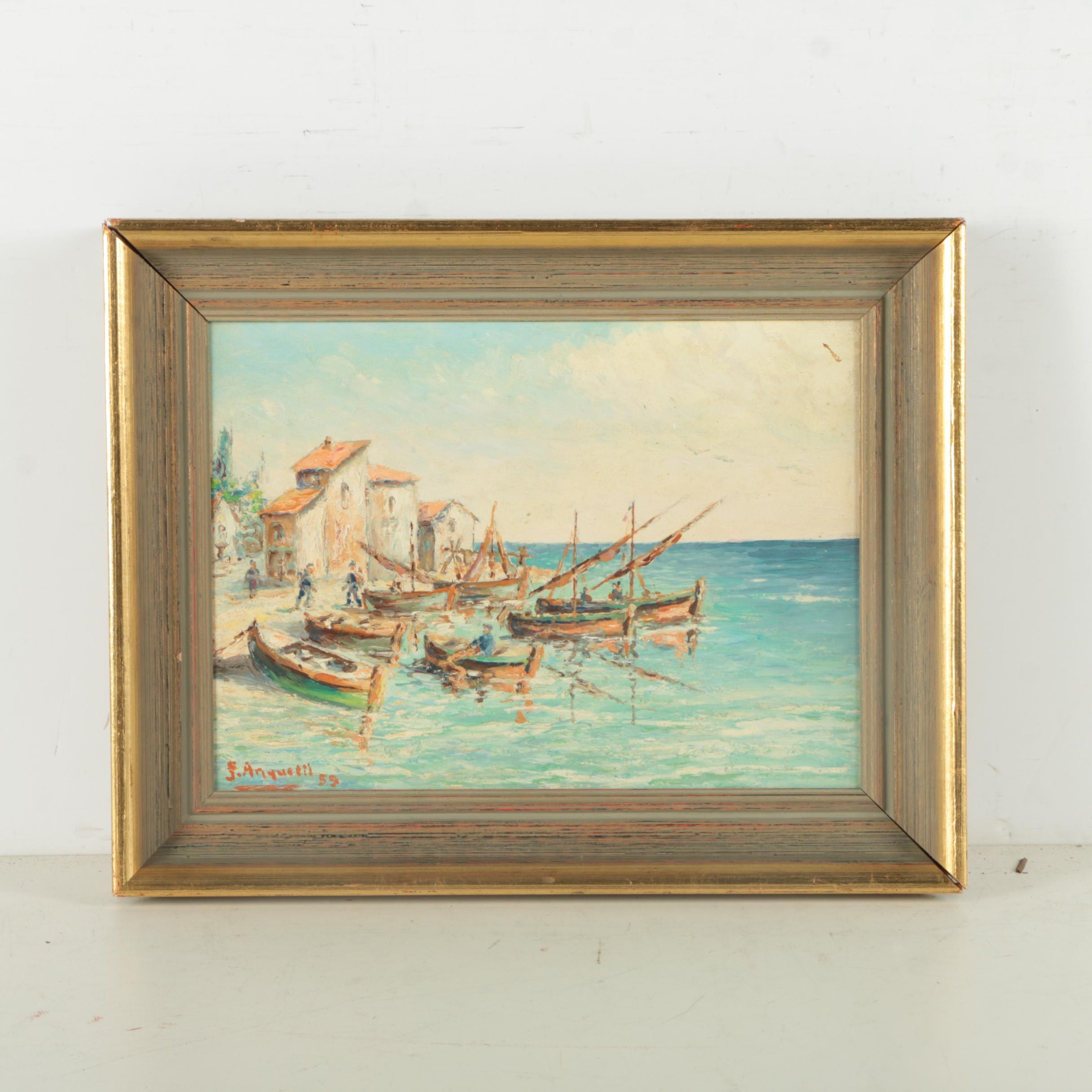 Oil Painting on Board of Harbor Scene