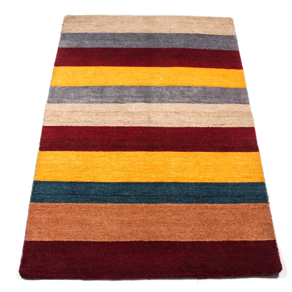 Hand-Knotted Indo-Persian Gabbeh Accent Rug