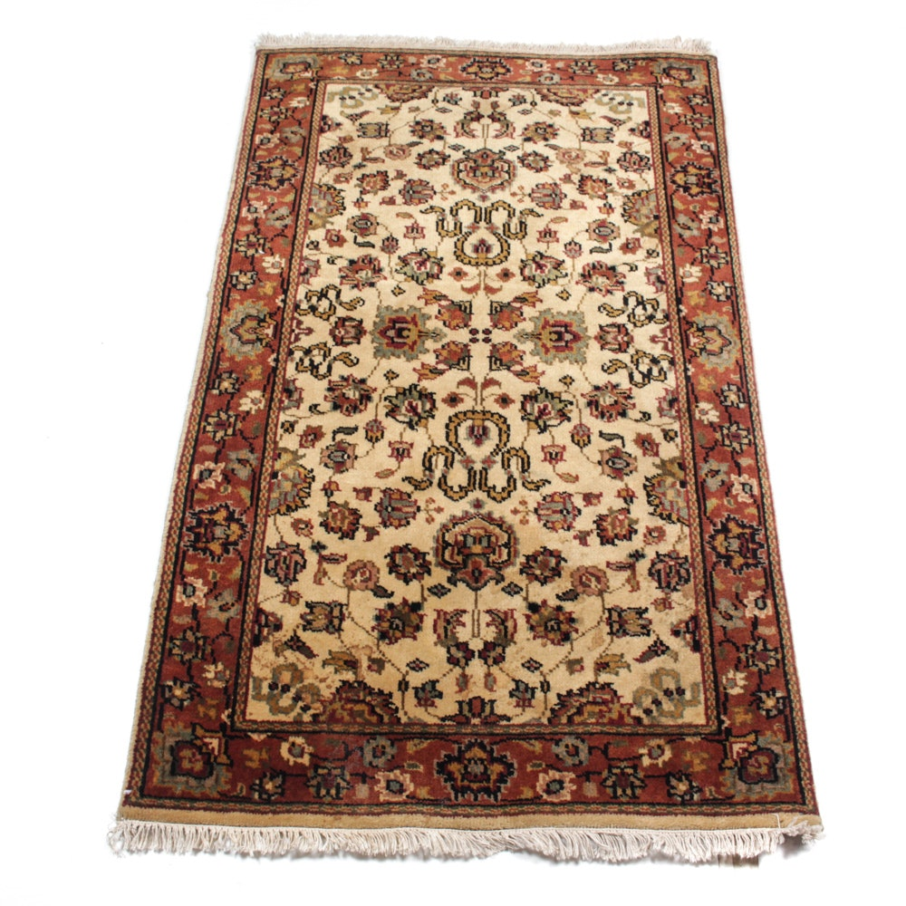 Hand-Knotted Indo-Persian Kashan Accent Rug
