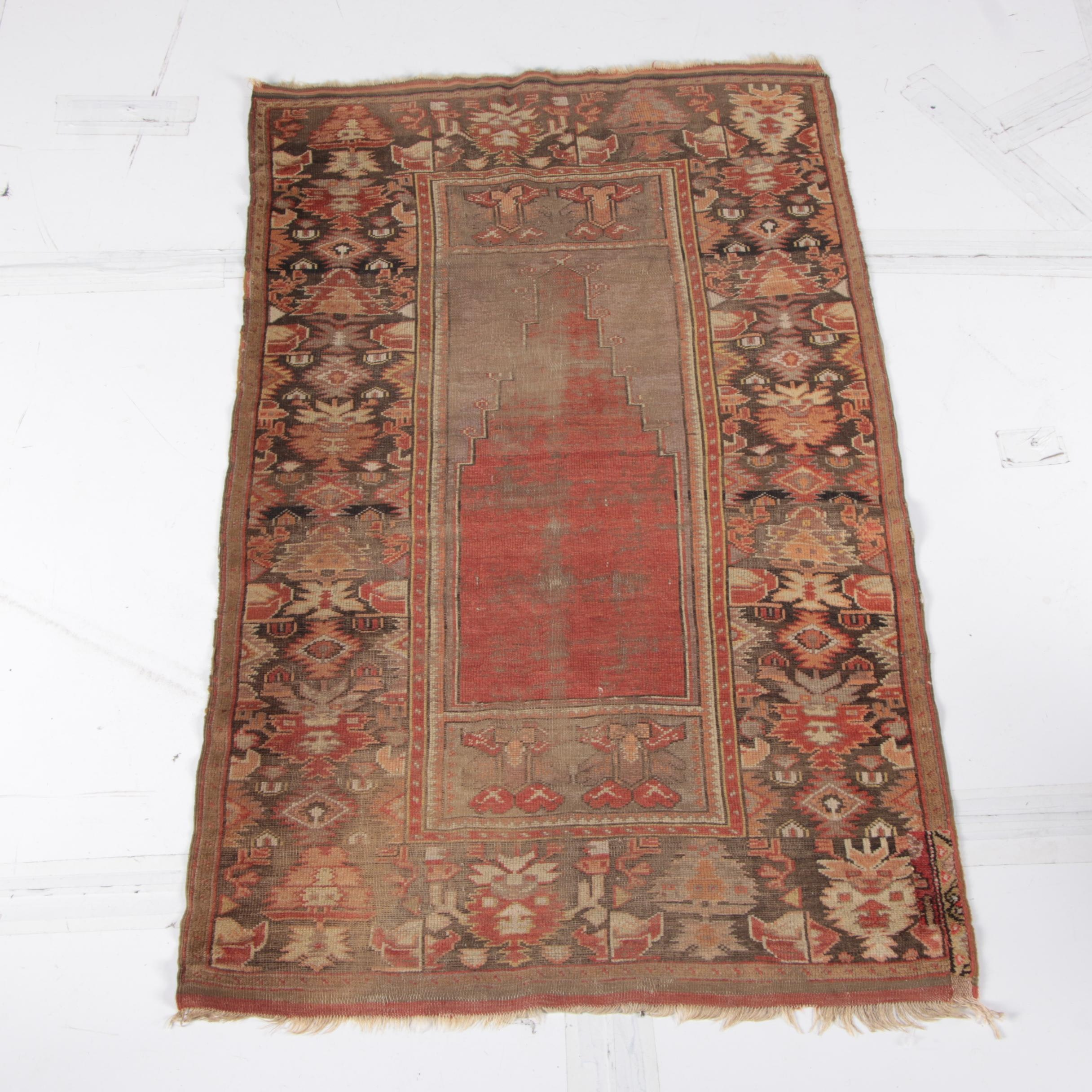 Antique Hand-Knotted and Woven Anatolian Prayer Rug
