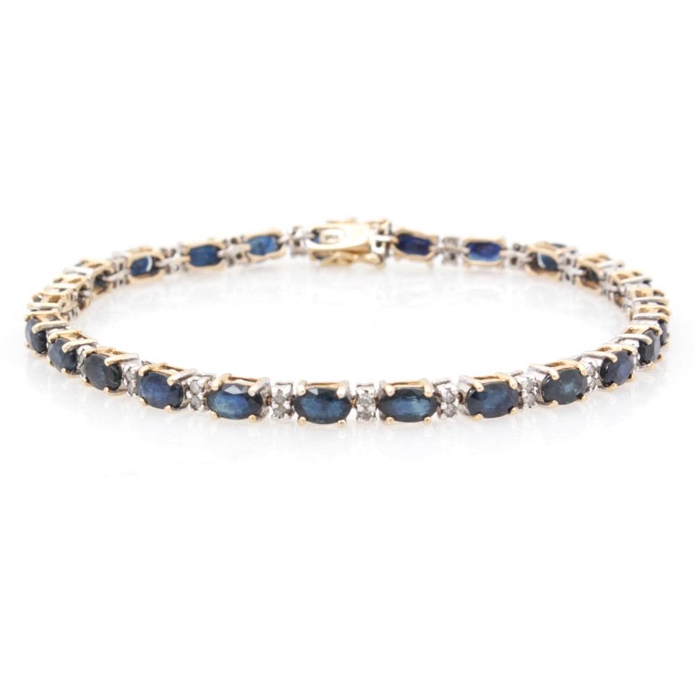 14K Yellow Gold, Sapphire and Diamond Tennis Bracelet