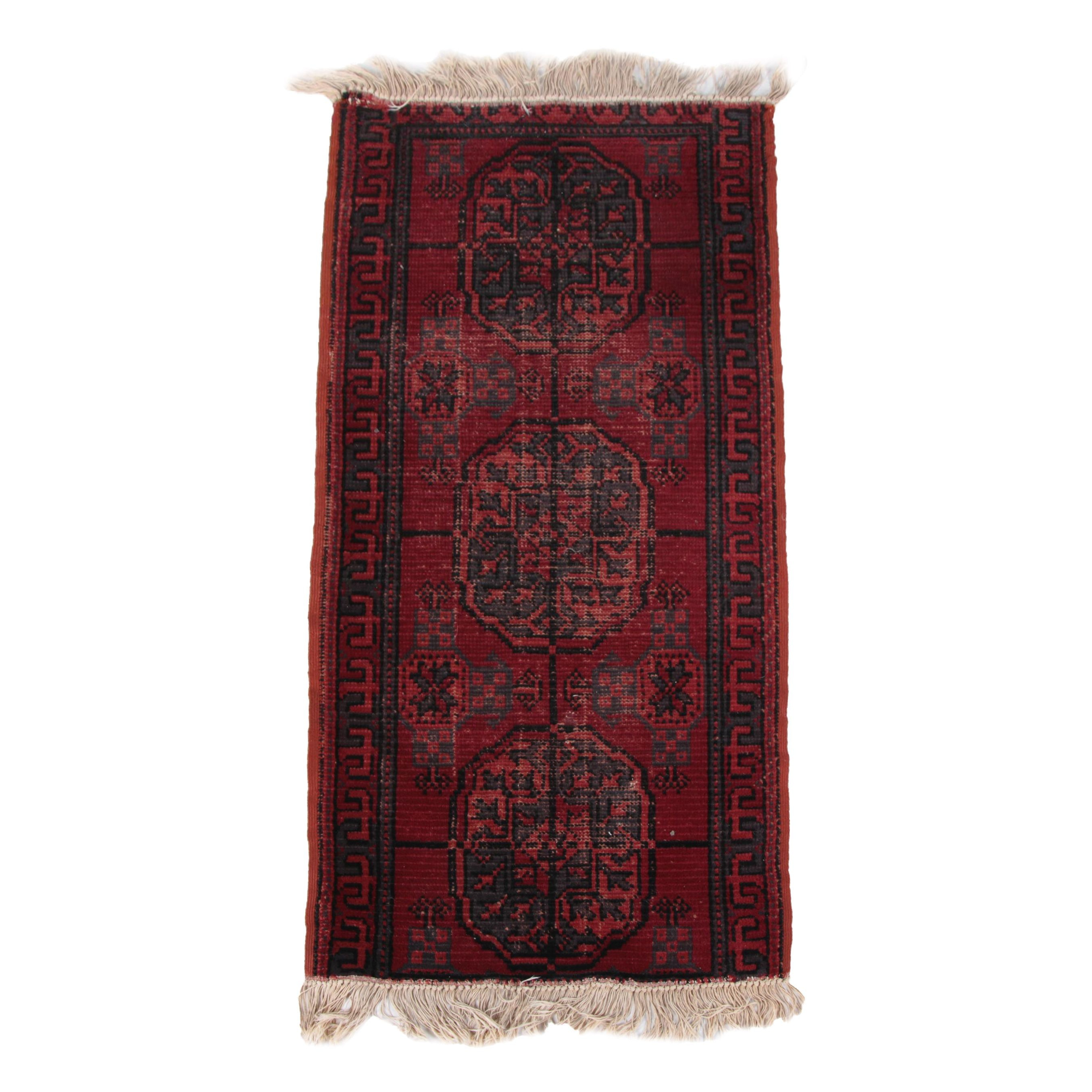 Antique Handwoven Turkmen Accent Rug