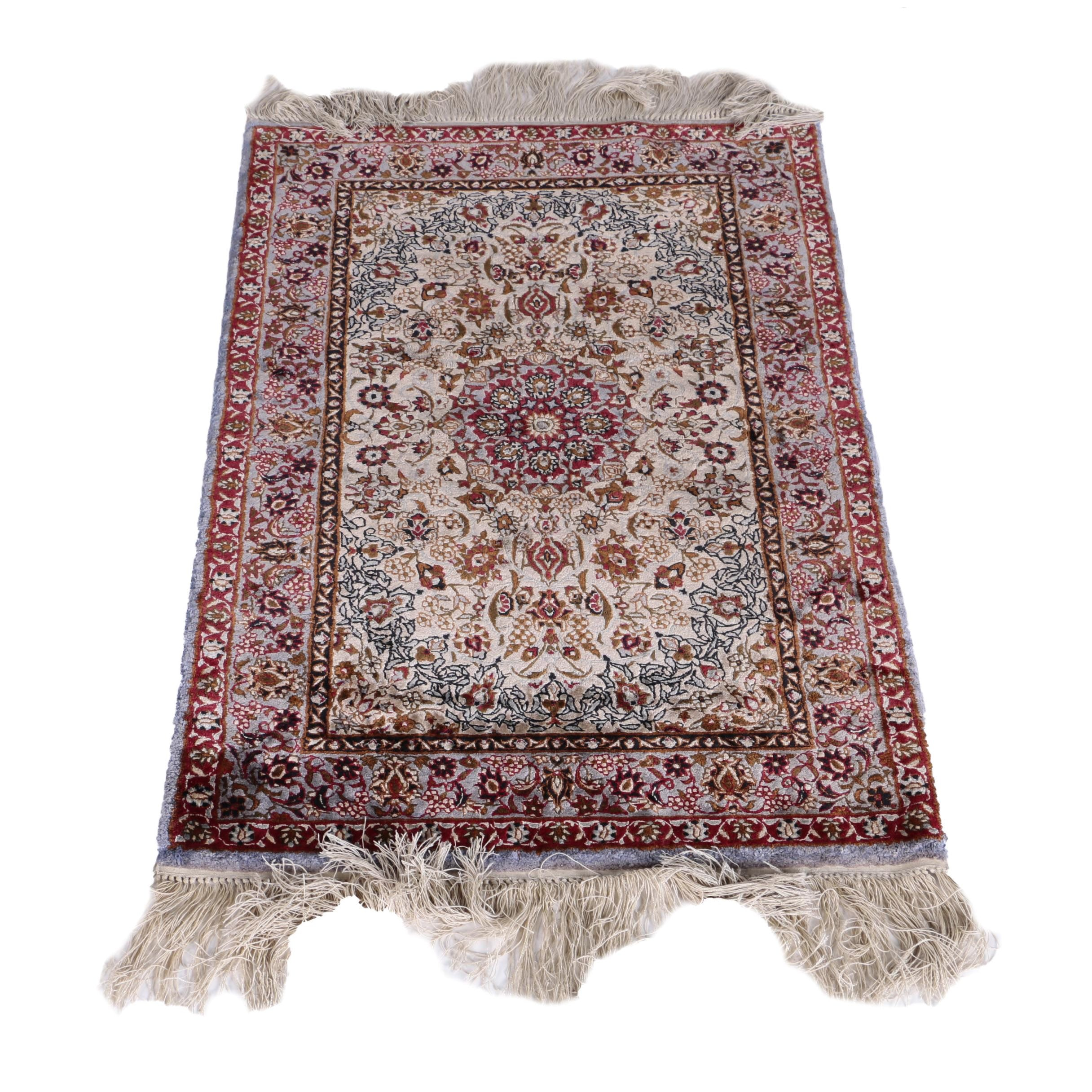 Hand-Knotted Sino-Persian Wool and Silk Accent Rug