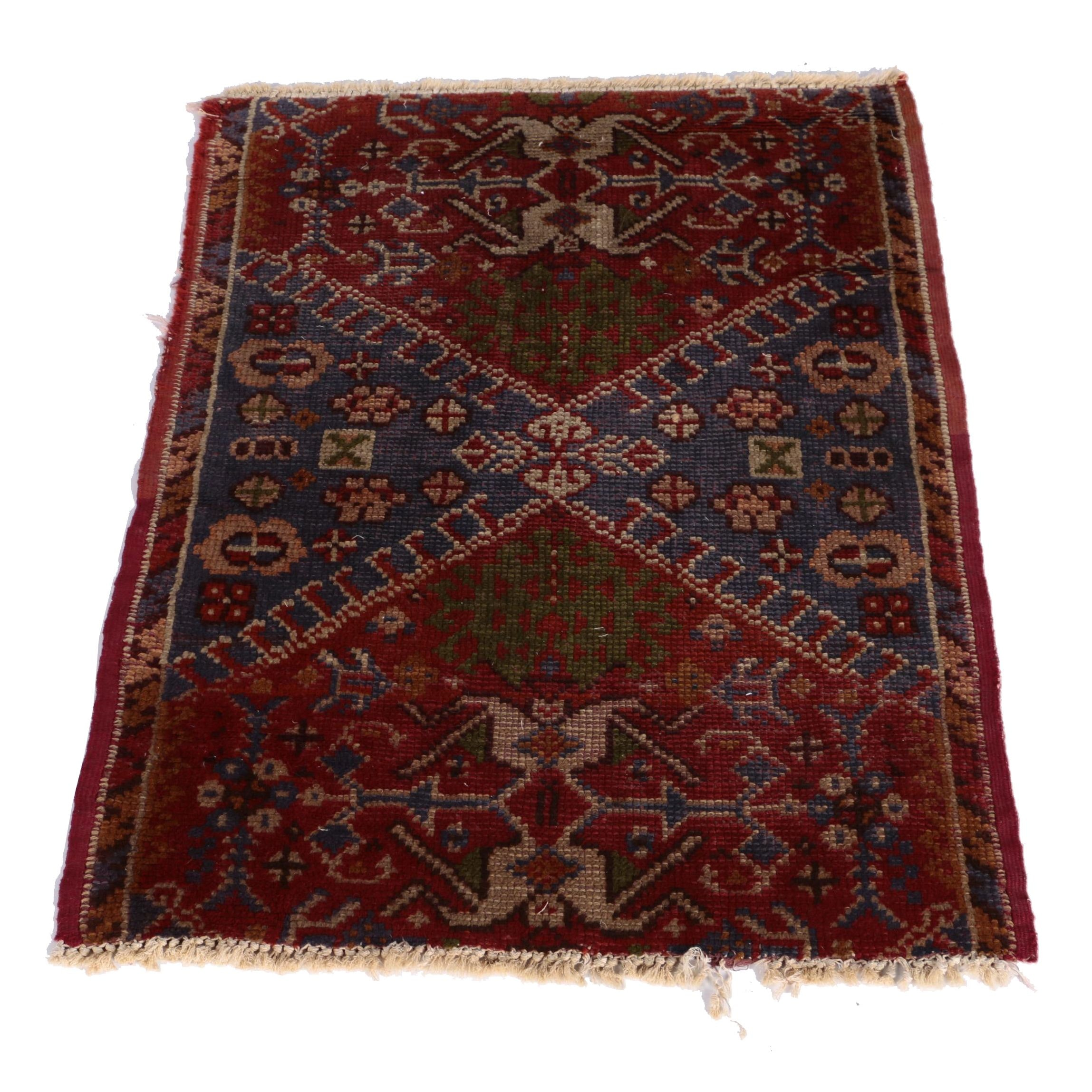 Semi-Antique Handwoven Anatolian Accent Rug