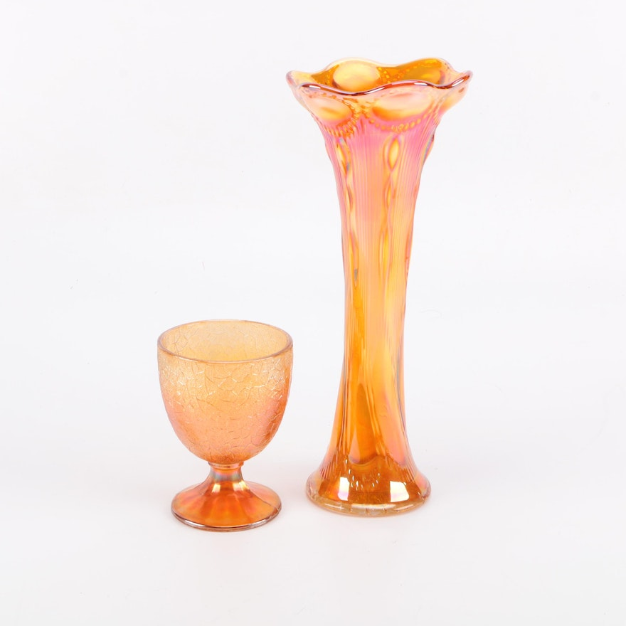 Marigold Carnival Glass Vase And Goblet Ebth