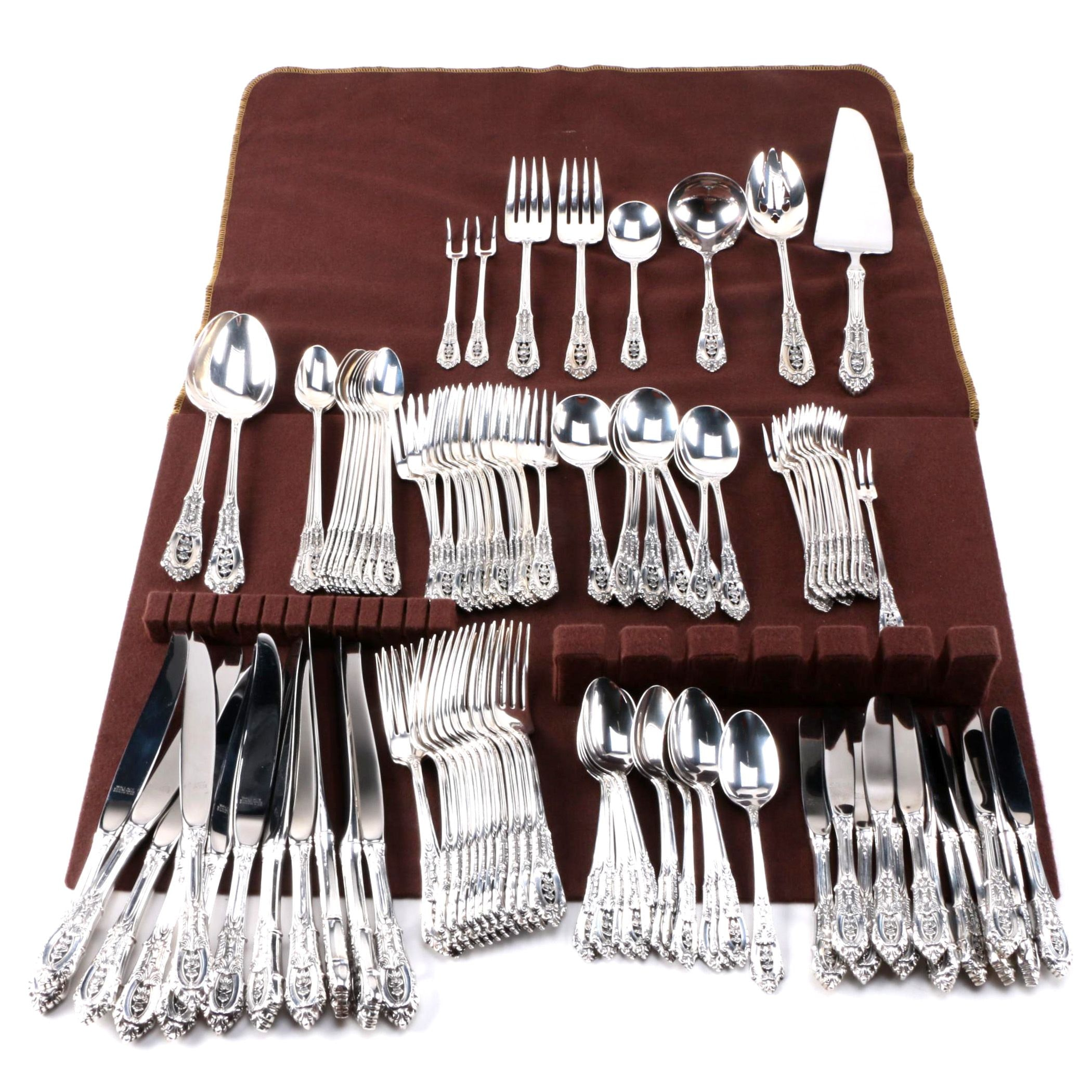 """Wallace """"Rose Point"""" Sterling Silver Flatware for Twelve"""