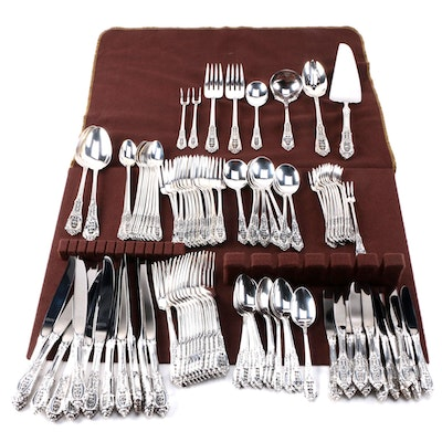 "Wallace ""Rose Point"" Sterling Silver Flatware for Twelve"