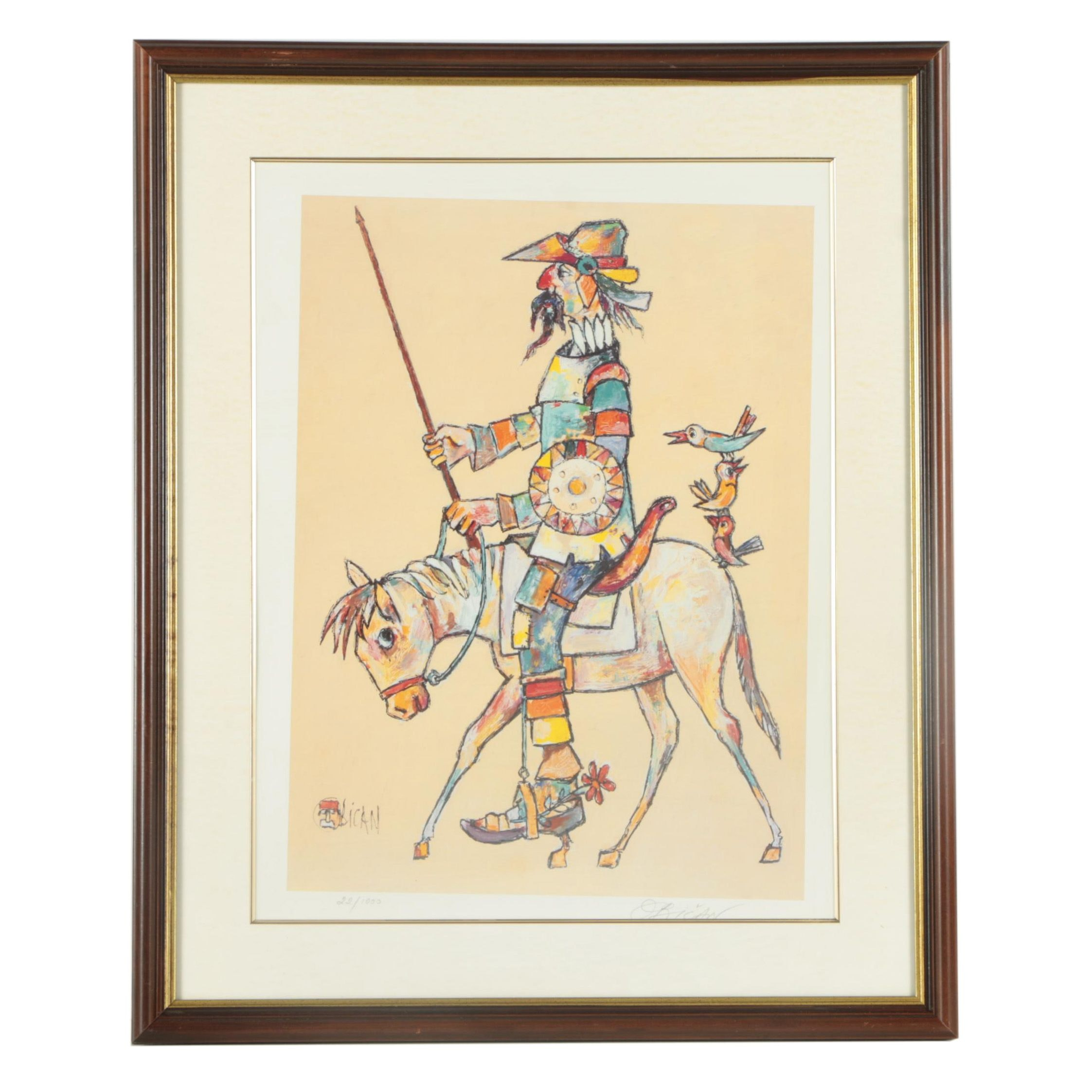 "Jovan Obican Limited Edition Offset Lithograph on Paper ""Don Quixote"""