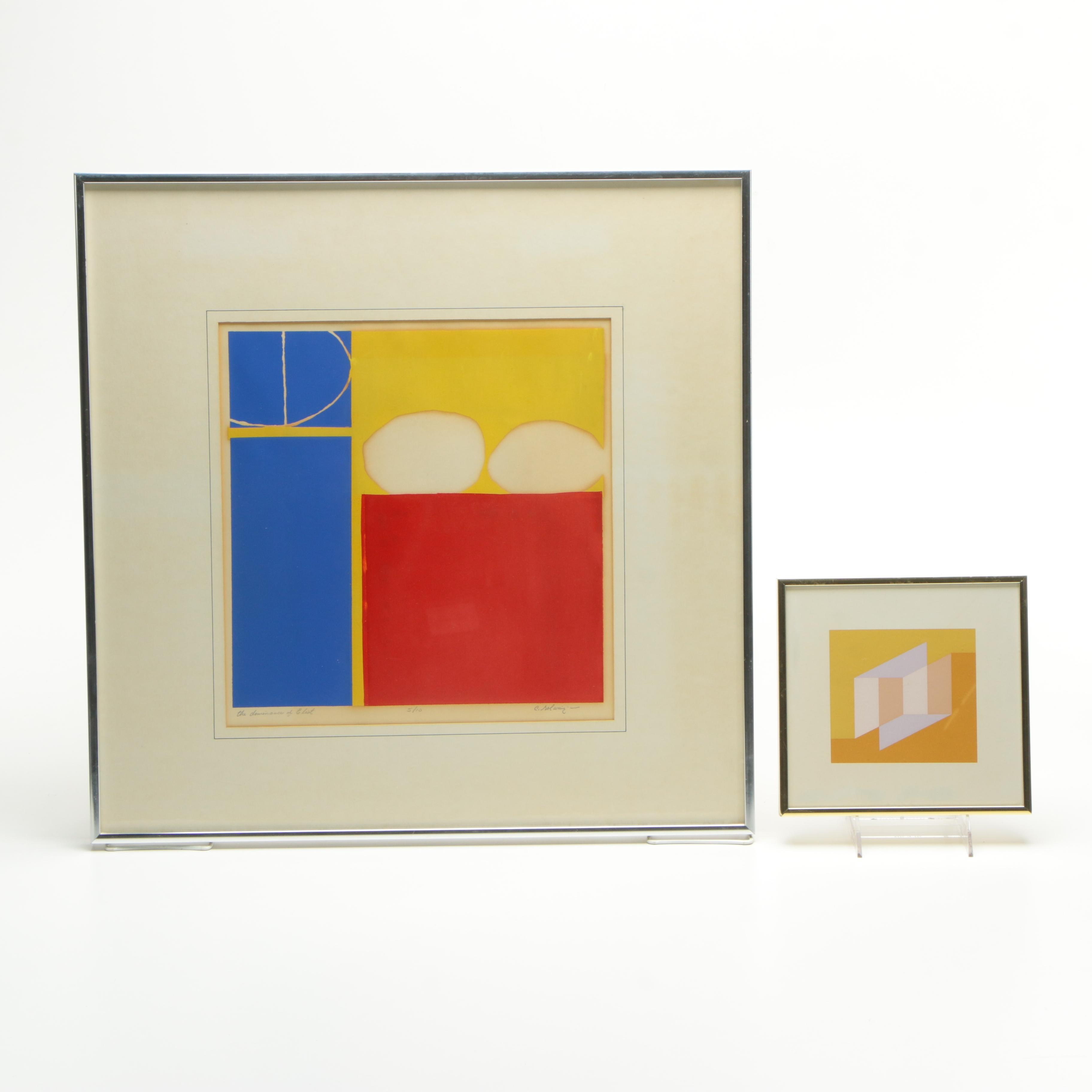 Pair of Serigraphs on Paper Geometric Compositions