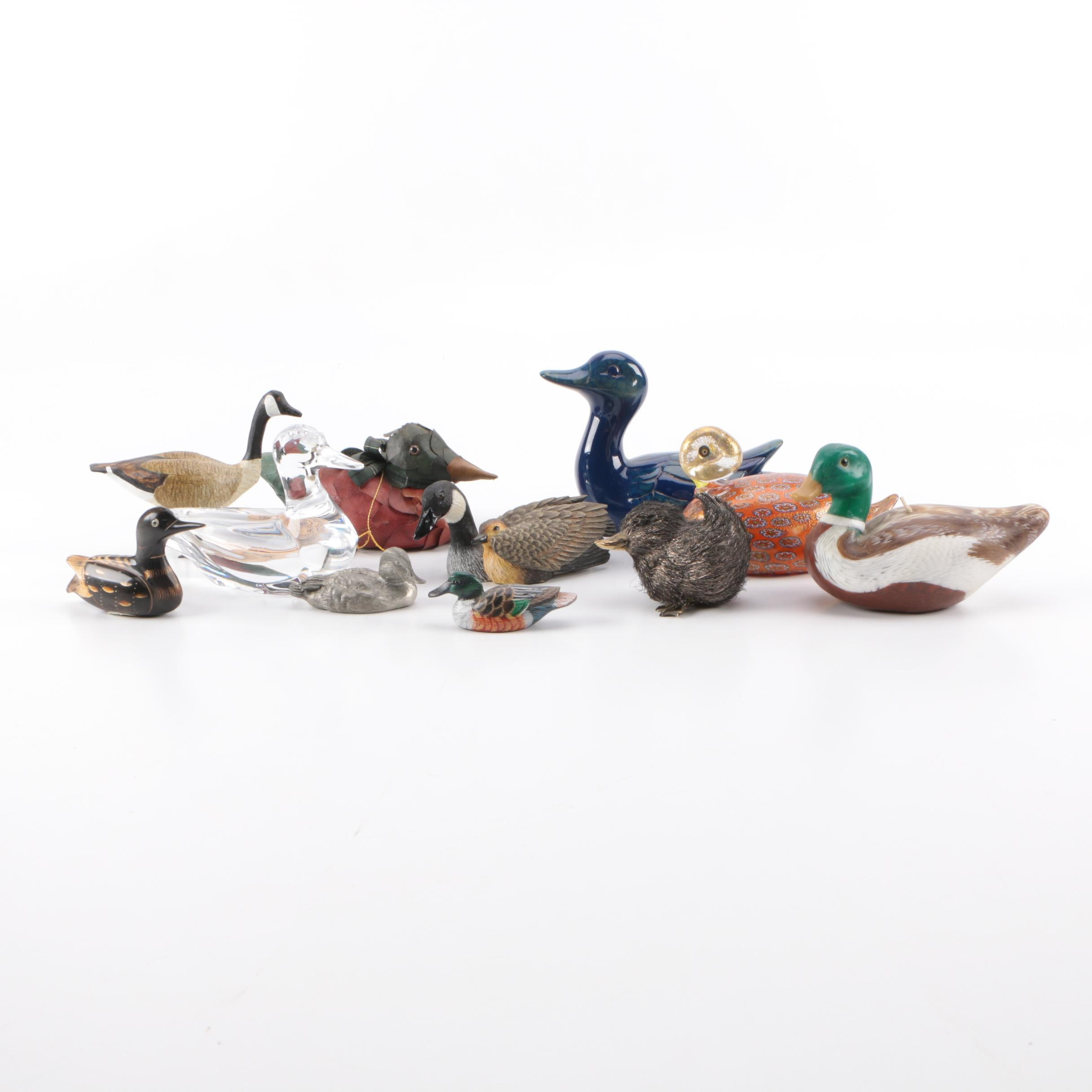 Duck and Goose Figurine Assortment Including Baccarat Crystal