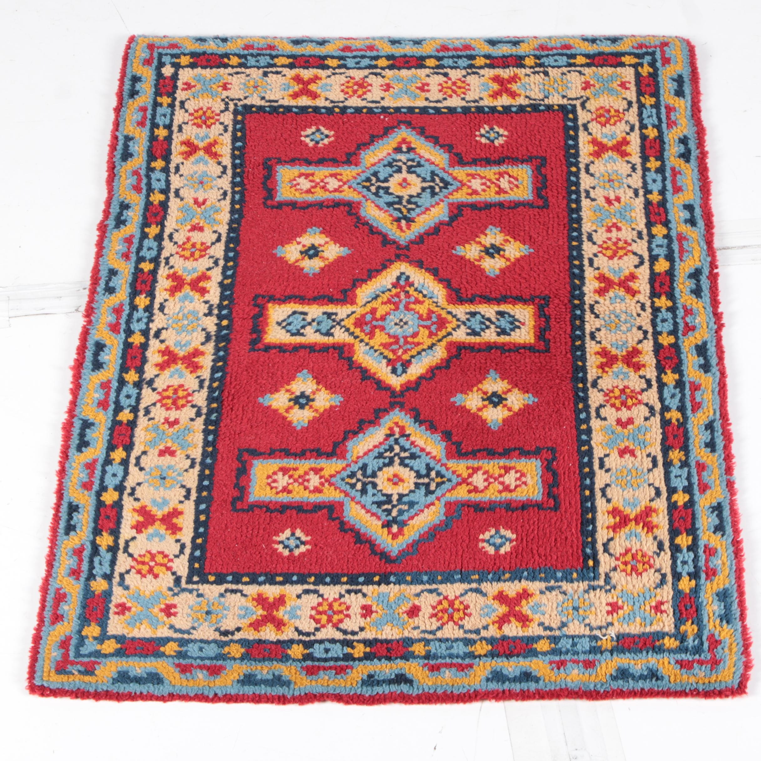 Hand-Knotted Caucasian-Syle Small Area Rug