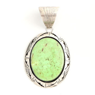 Bruce Wood Navajo Sterling Silver Gaspeite Pendant