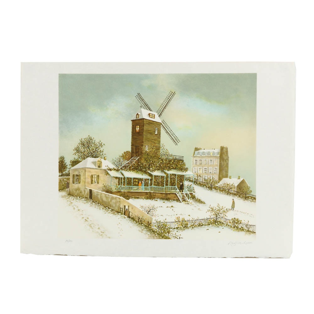 Gillion Green Limited Edition Lithograph on Paper Winter Landscape