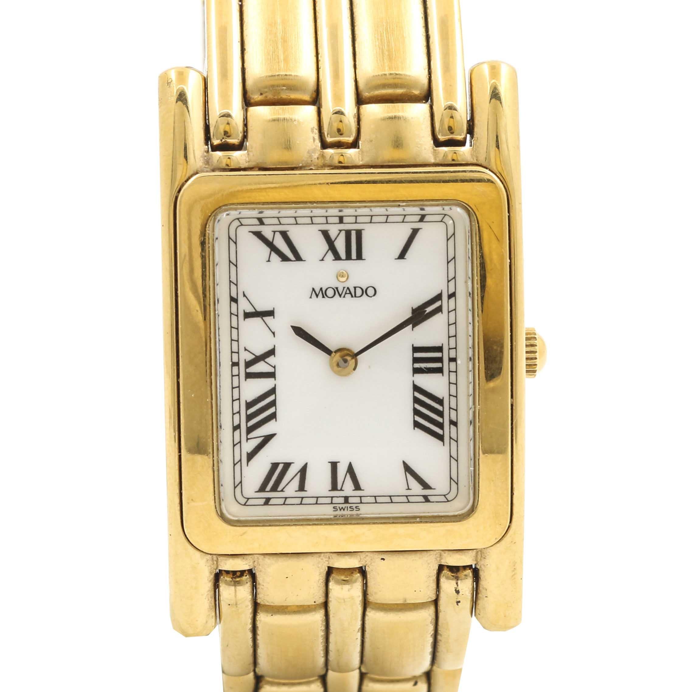 Movado Gold Tone Tank Style Wristwatch
