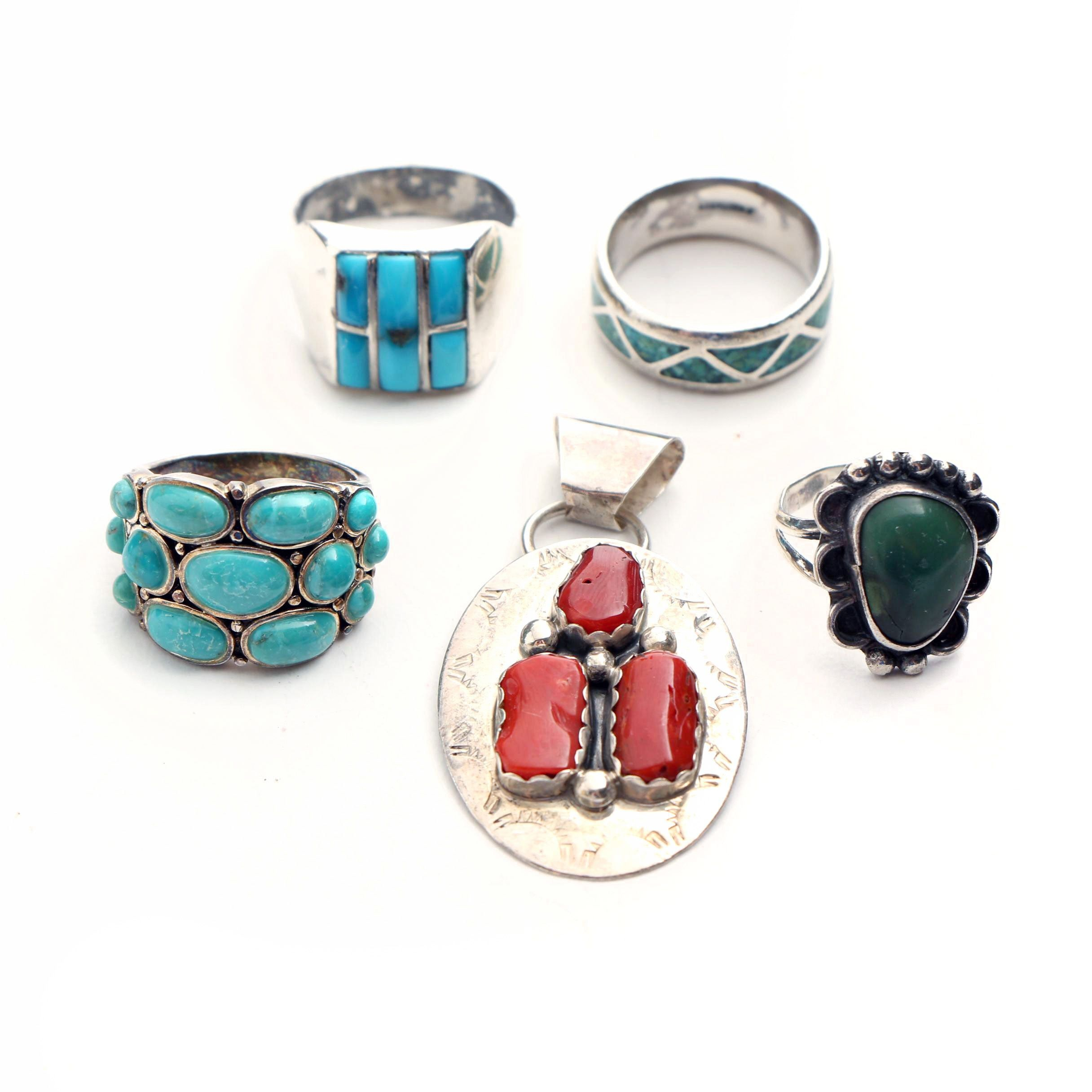 Navajo, Zuni, and Southwestern Style Sterling Silver Turquoise and Coral Jewelry