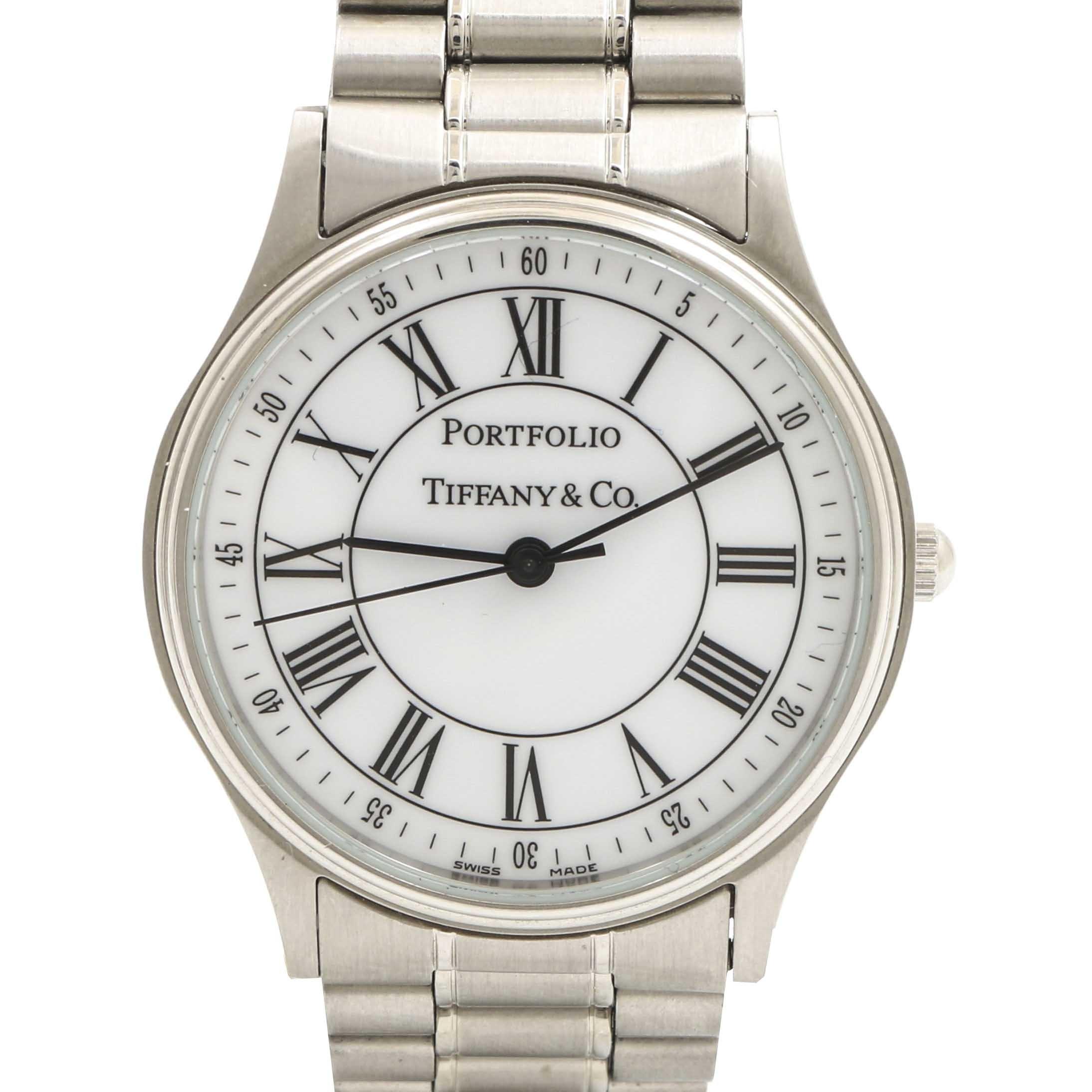 """Tiffany & Co. """"Portfolio"""" Stainless Steel Wristwatch"""