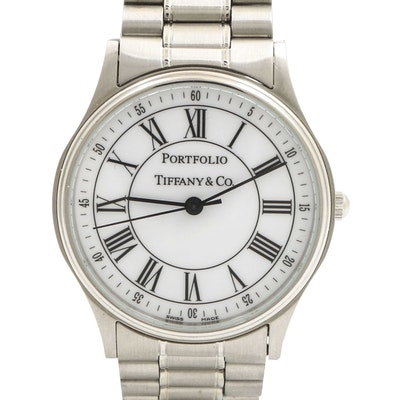 "Tiffany & Co. ""Portfolio"" Stainless Steel Wristwatch"